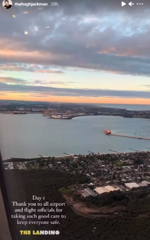 Hugh Jackman shares photo from airplane after arriving back in Australia.