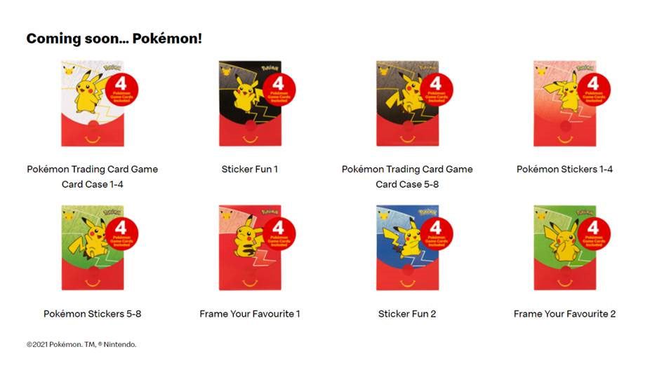 McDonald's updated their website on Thursday displaying Pokémon cards on offer.