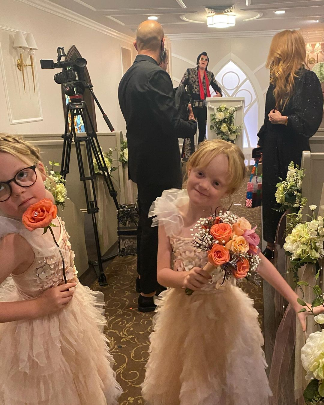 Lily Allen shares photos of daughters Ethel and Marnie taken at her Las Vegas wedding in September 2020.