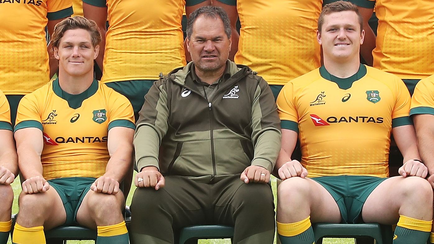 Wallabies pose for a team photo