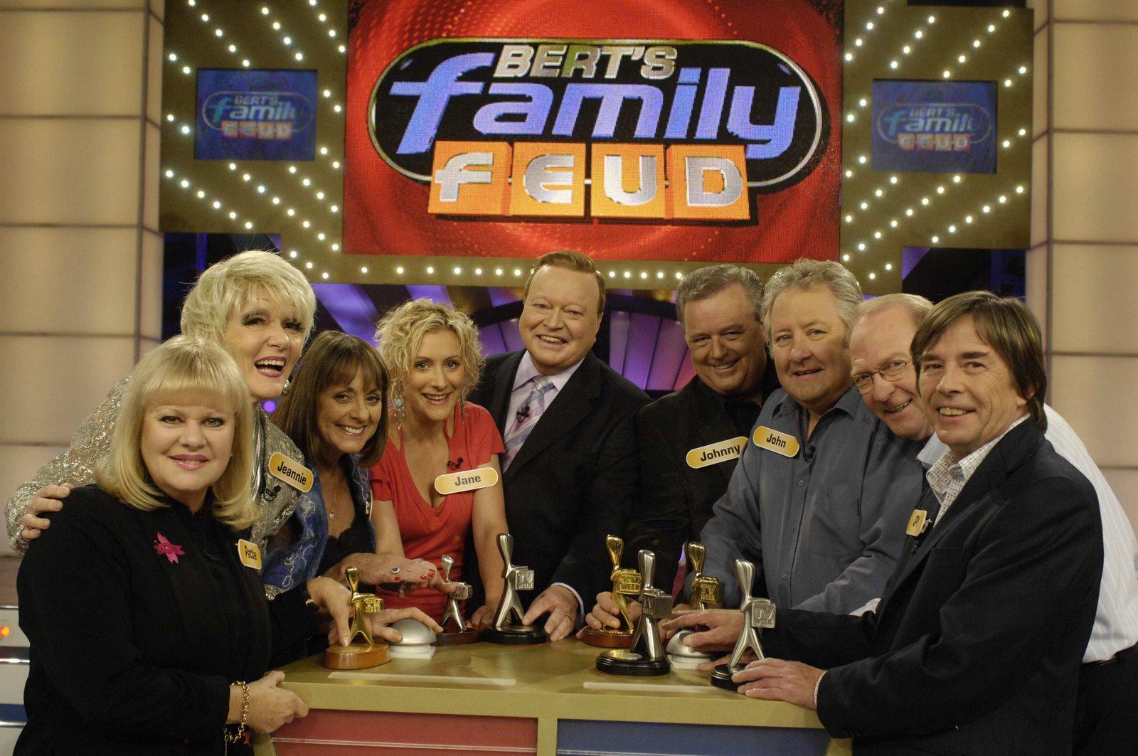 Bert Newton hosts Family Feud, celebrity edition.