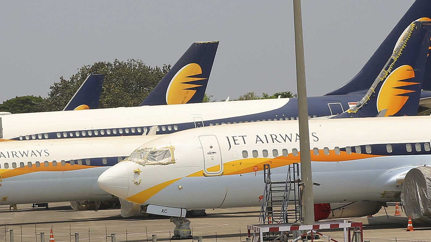 Jet Airways aircrafts are seen parked at Chhatrapati Shivaji Maharaj International Airport in Mumbai.