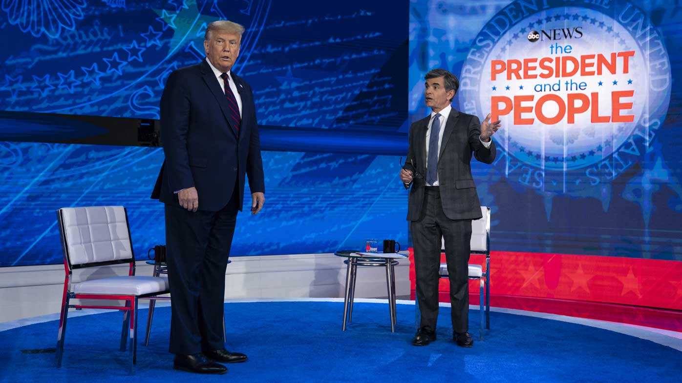 President Donald Trump talks with ABC News anchor George Stephanopoulos.