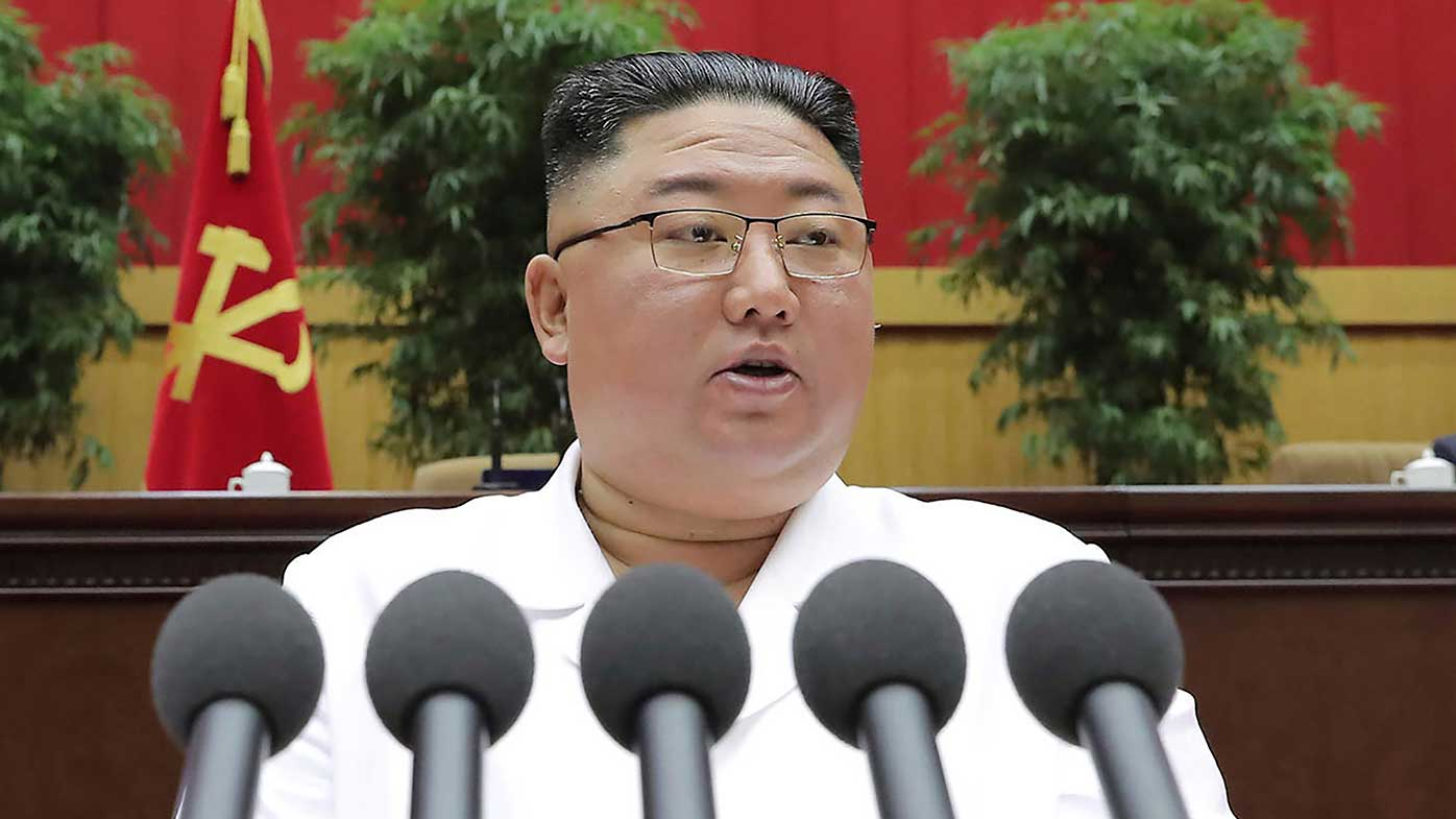 North Korean leader Kim Jong Un delivers a closing speech at the Sixth Conference of Cell Secretaries of the Workers' Party of Korea.