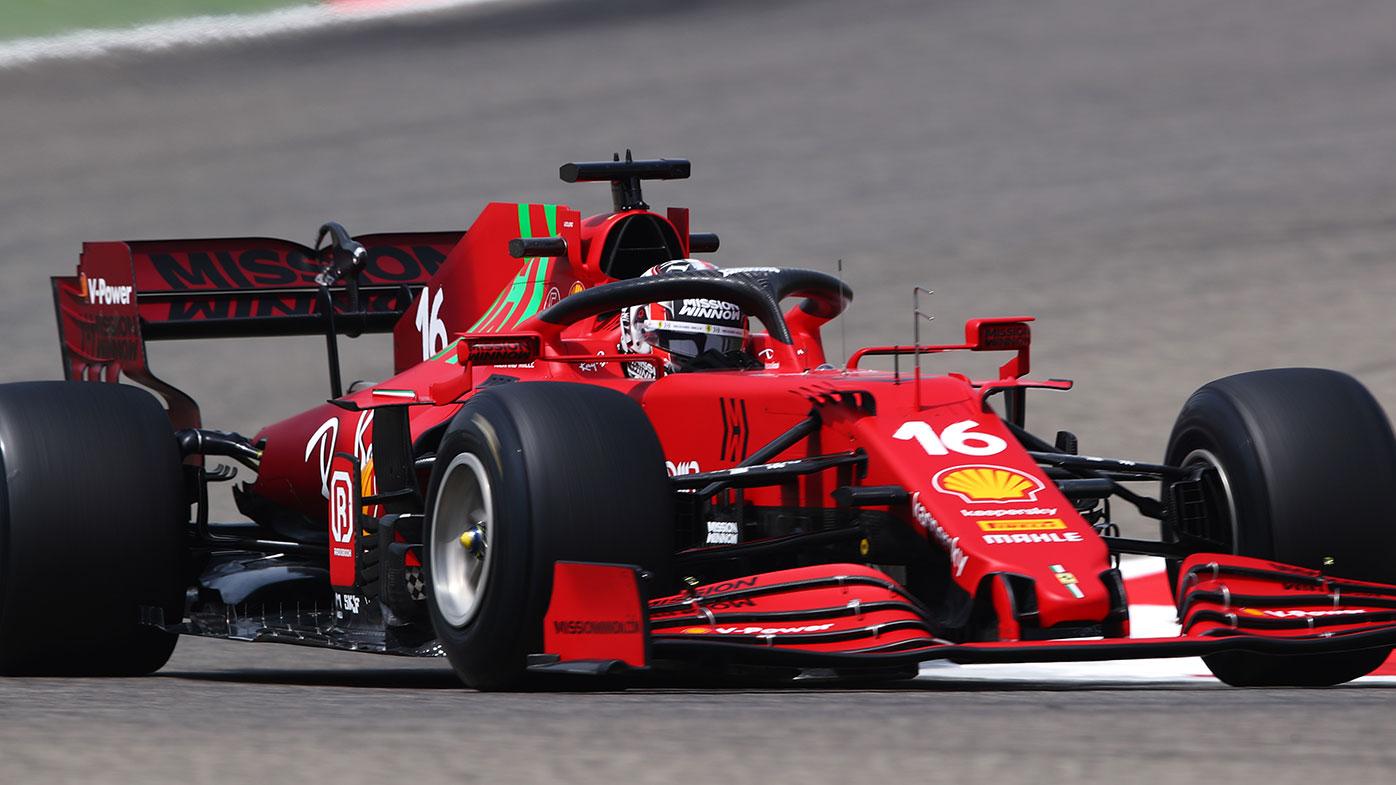 Charles Leclerc in action for Ferrari during the Bahrain pre-season test.