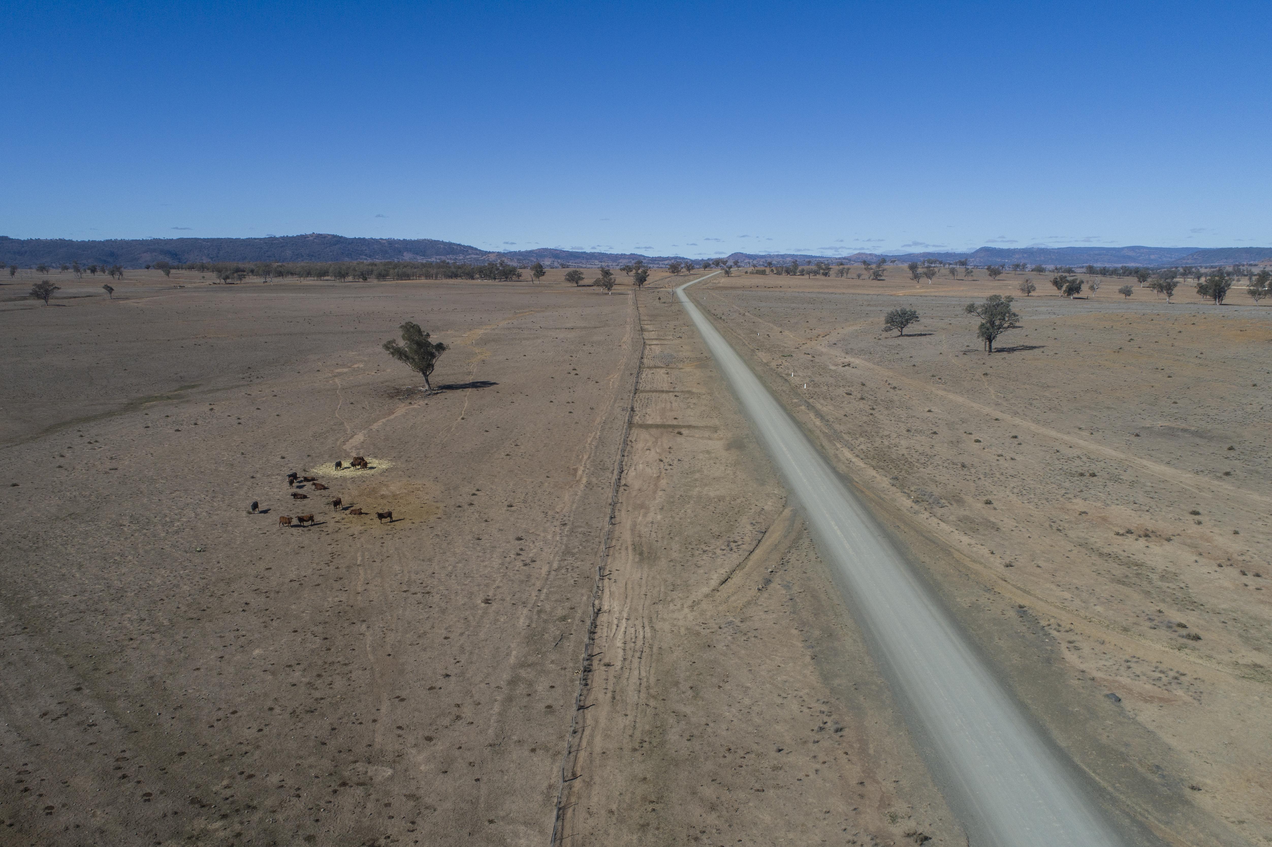 An aerial shot of Horton Rd, off Killarney Gap Road between Bingara and Narrabri, shows the extent of the drought.
