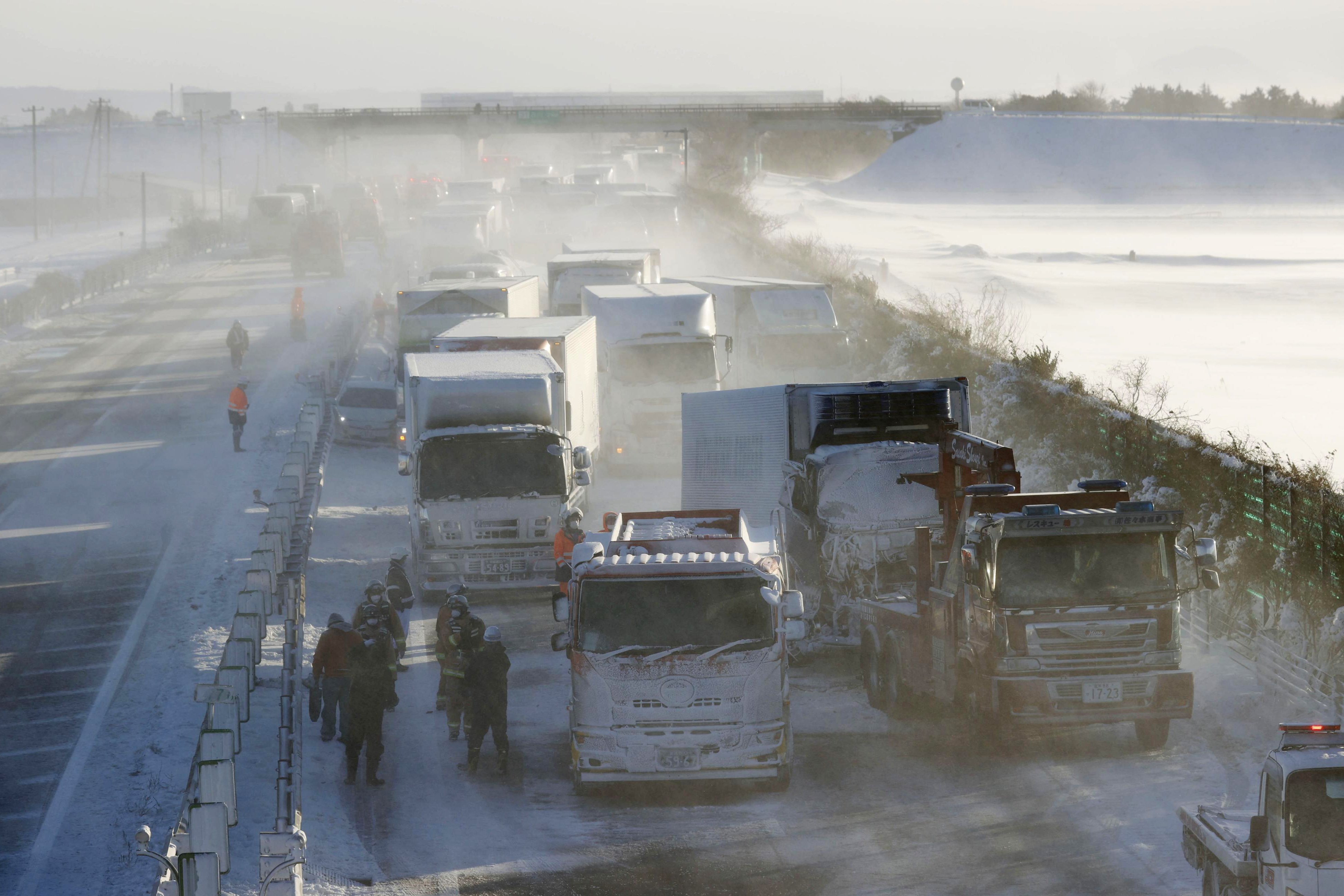 Intense snow storm causes 130 car pile-up on Japanese highway