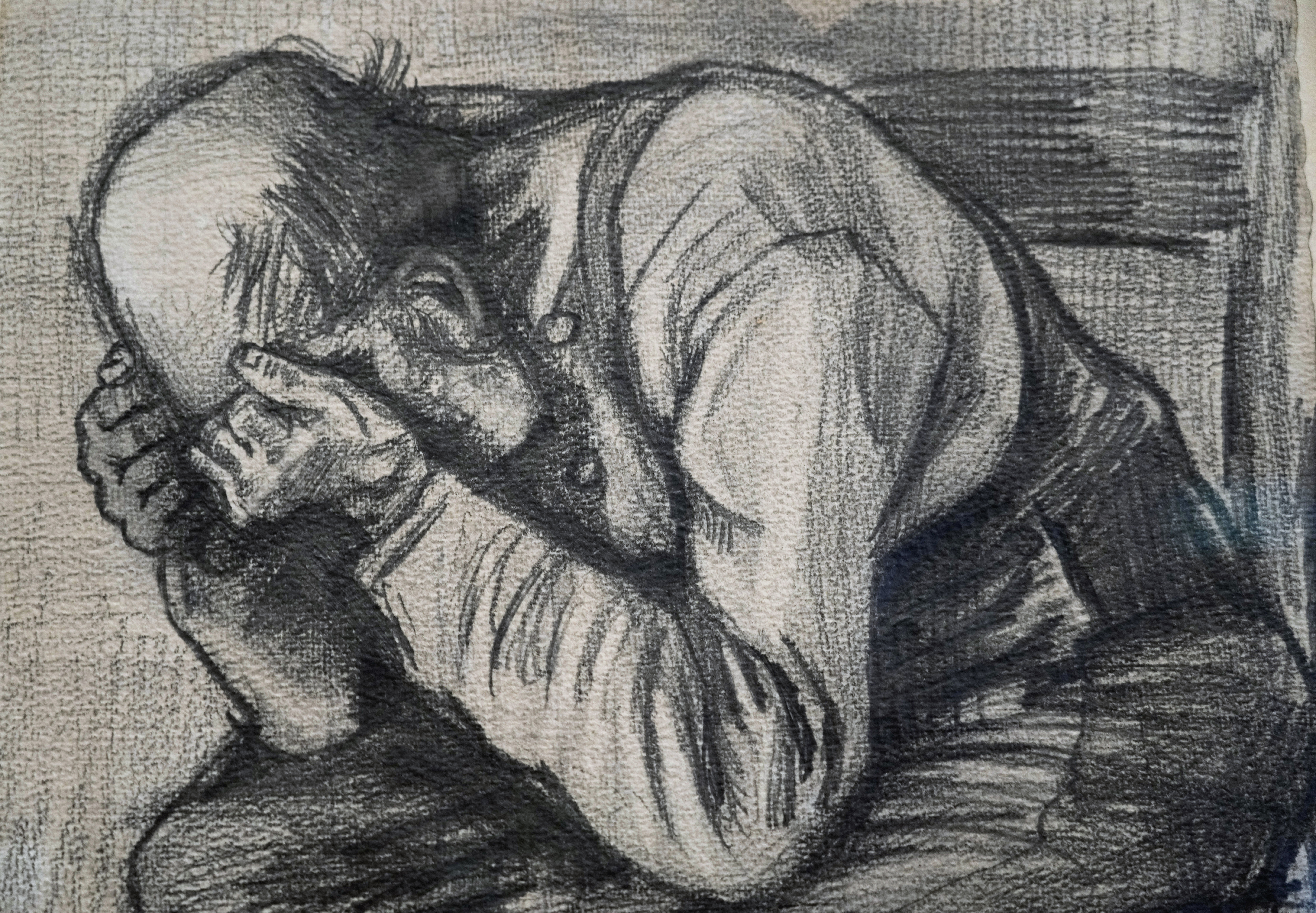 """Detail of Study for """"Worn Out"""", a drawing by Dutch master Vincent van Gogh, dated Nov. 1882, on public display for the first time at the Van Gogh Museum."""