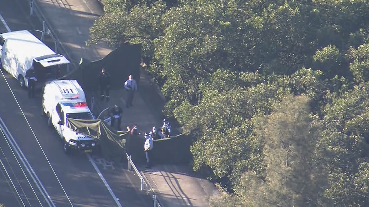 Police at the scene near a bridge on the NSW Central Coast where a woman's body was found in shallow waters.
