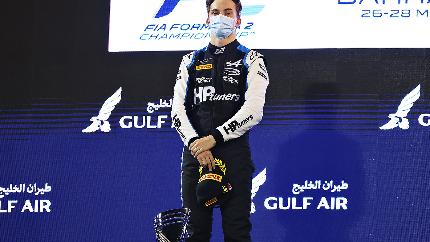 Australia's Oscar Piastri on the podium after winning race two of the Bahrain F2 weekend.