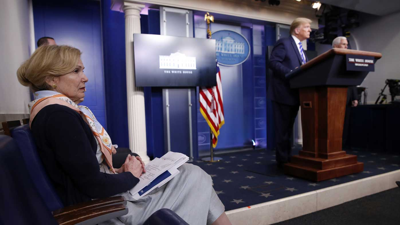 Deborah Birx sits in the White House press briefing room as the president suggests sunlight and disinfectant as potential coronavirus cures.