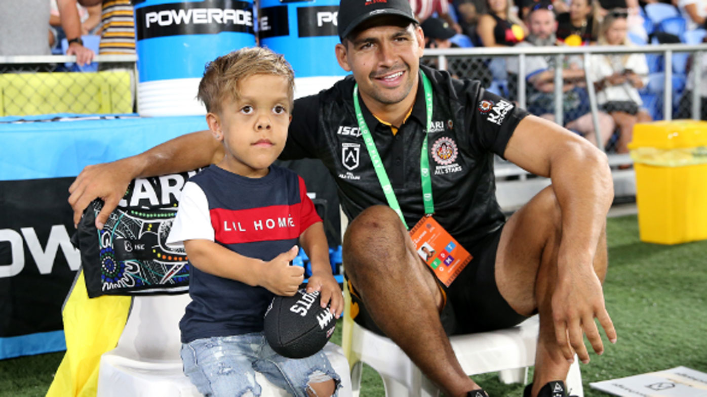 Quaden Bayles with Cody Walker of the Indigenous All-Stars before the NRL match between the Indigenous All-Stars and the New Zealand Maori Kiwis All-Stars at Cbus Super Stadium