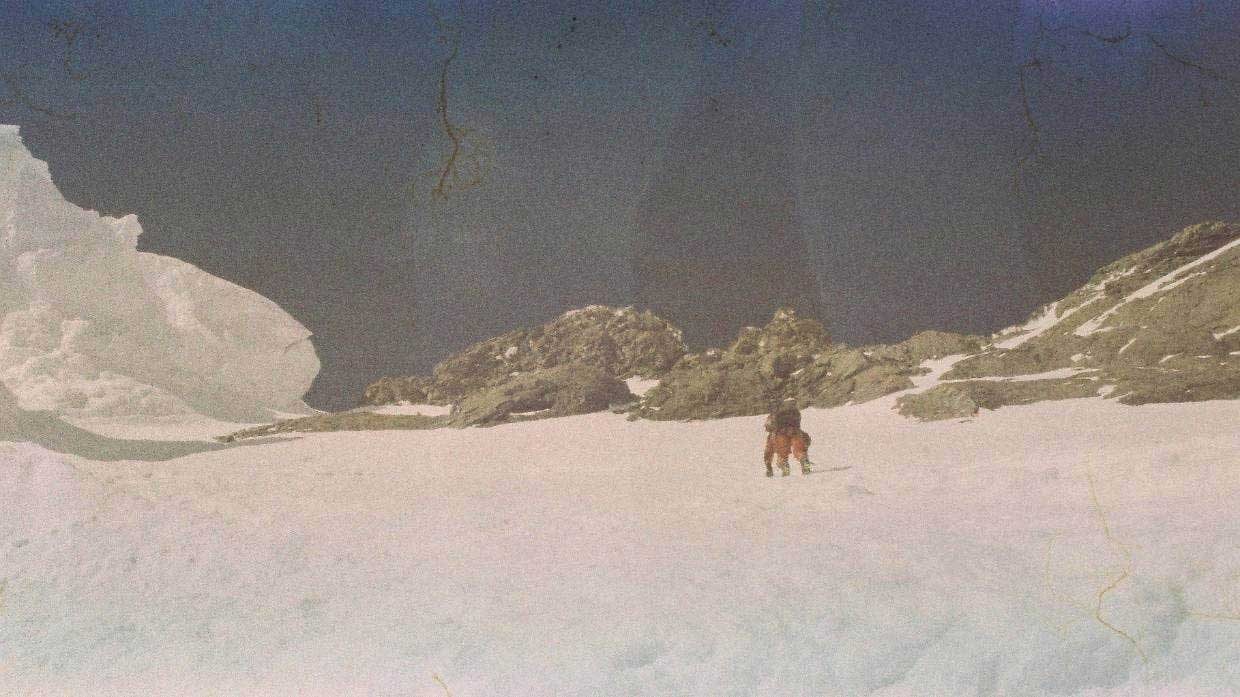 Steve Robinson ascending Mt Cook before he was killed in an avalanche in 1997.