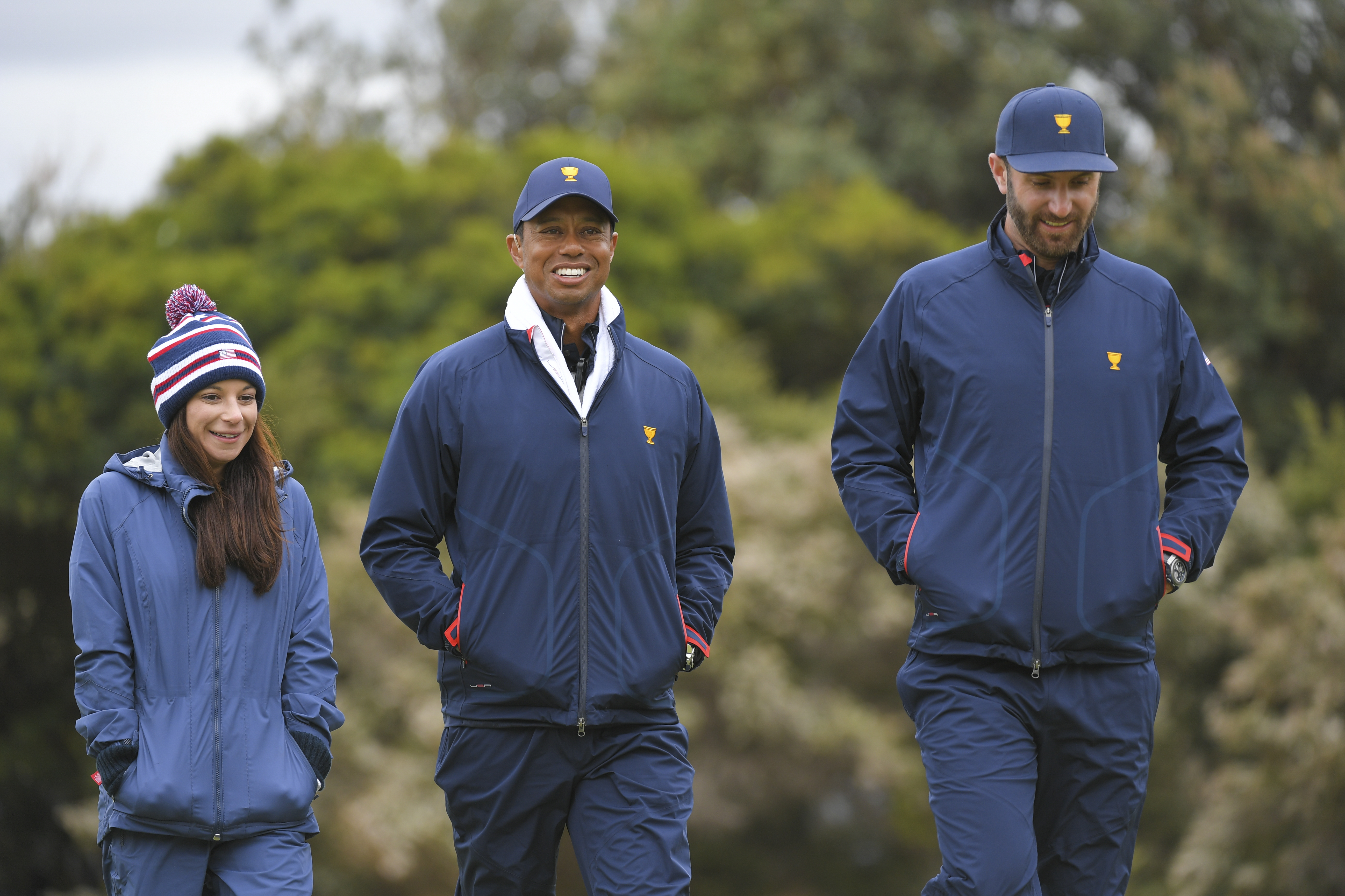 Erica Herman and Tiger Woods during the third round at the Presidents Cup at The Royal Melbourne Golf Club on December 14, 2019, in Victoria , Australia.