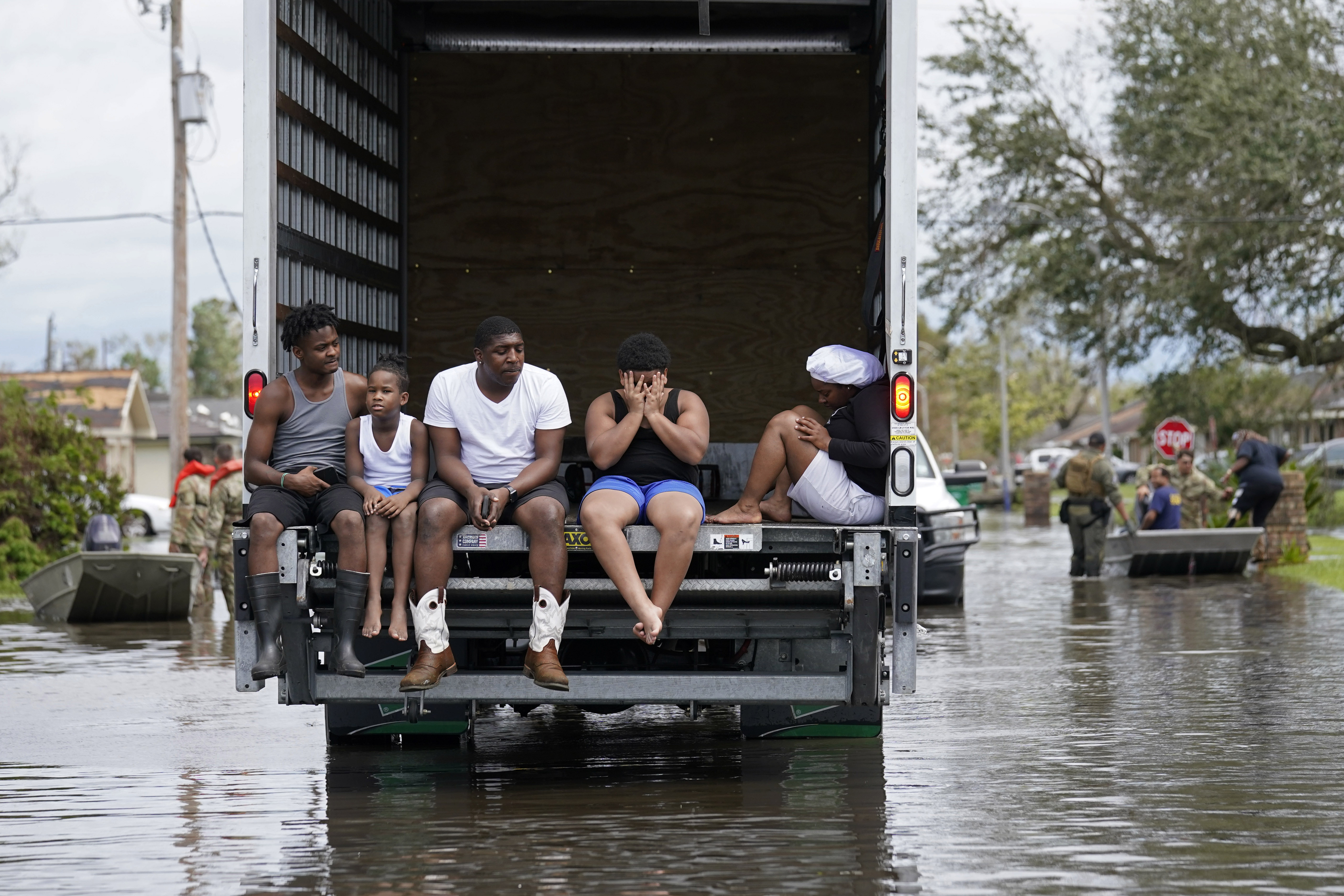 People are evacuated from floodwaters in the aftermath of Hurricane Ida in LaPlace, Louisiana.