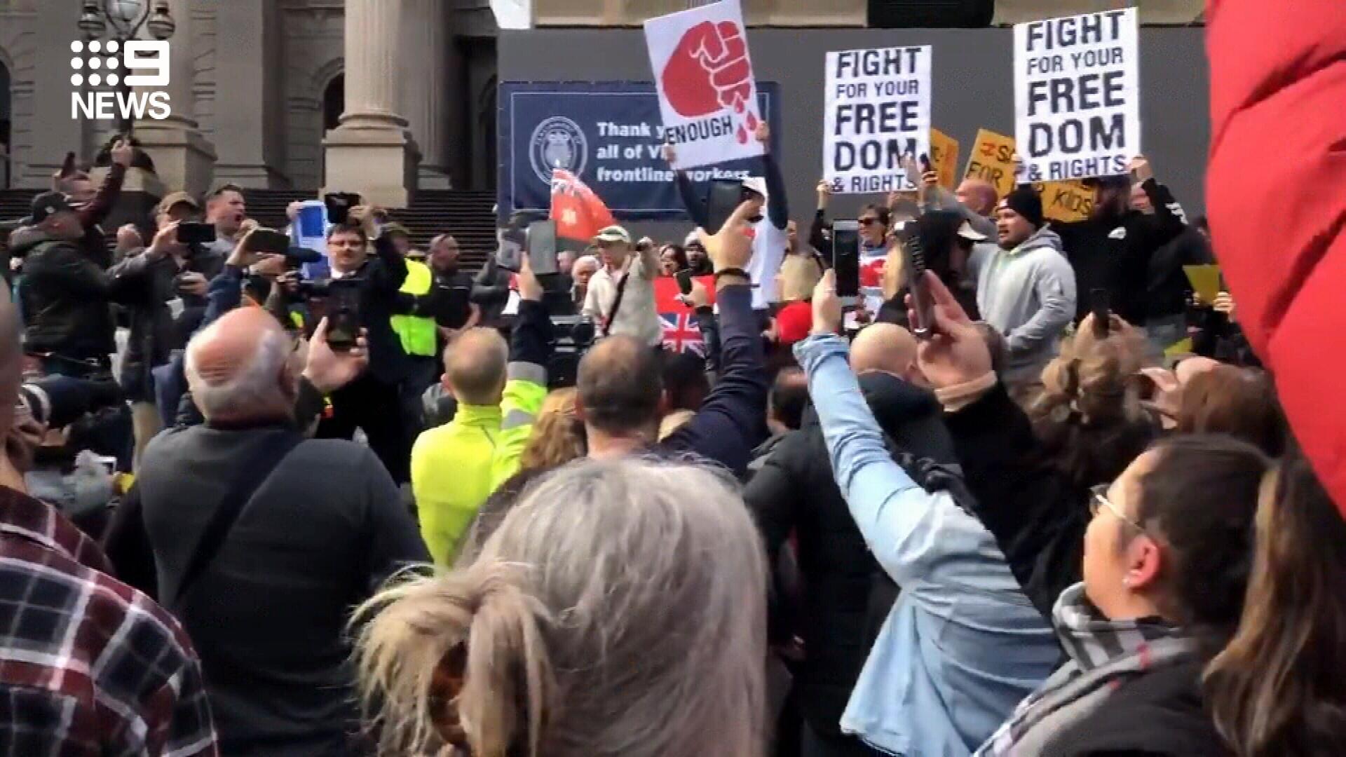 Dozens of Victorians protest coronavirus restrictions