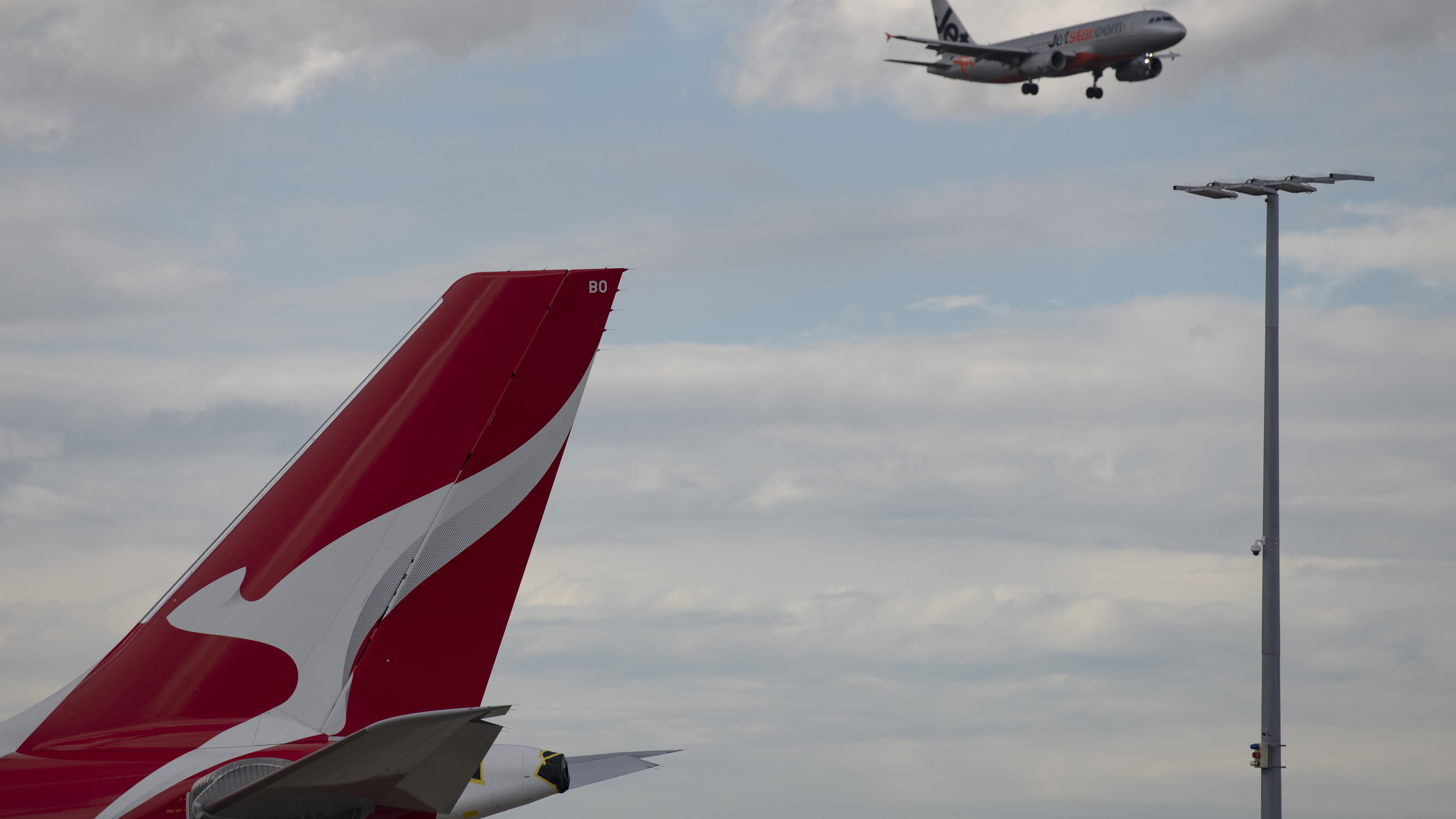 Qantas aircraft at Sydney's Kingsford Smith Airport.