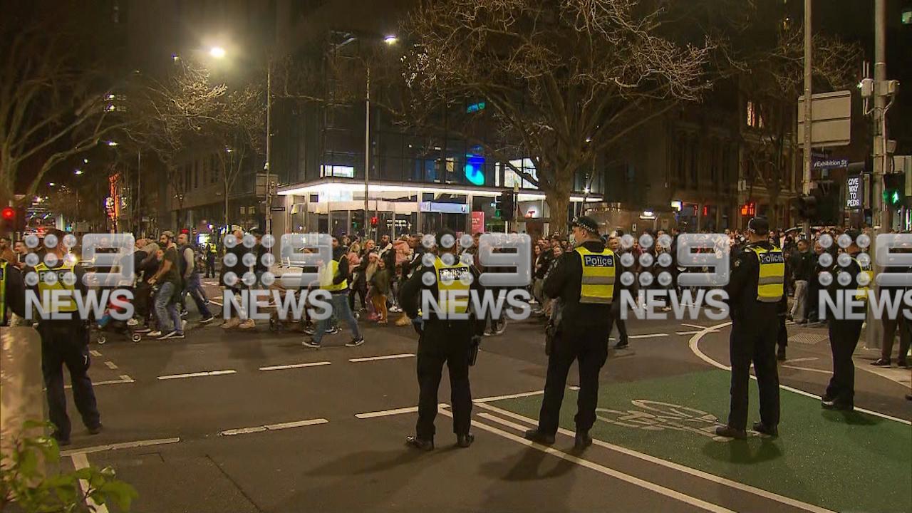 Crowds protest Victorian lockdown in Melbourne