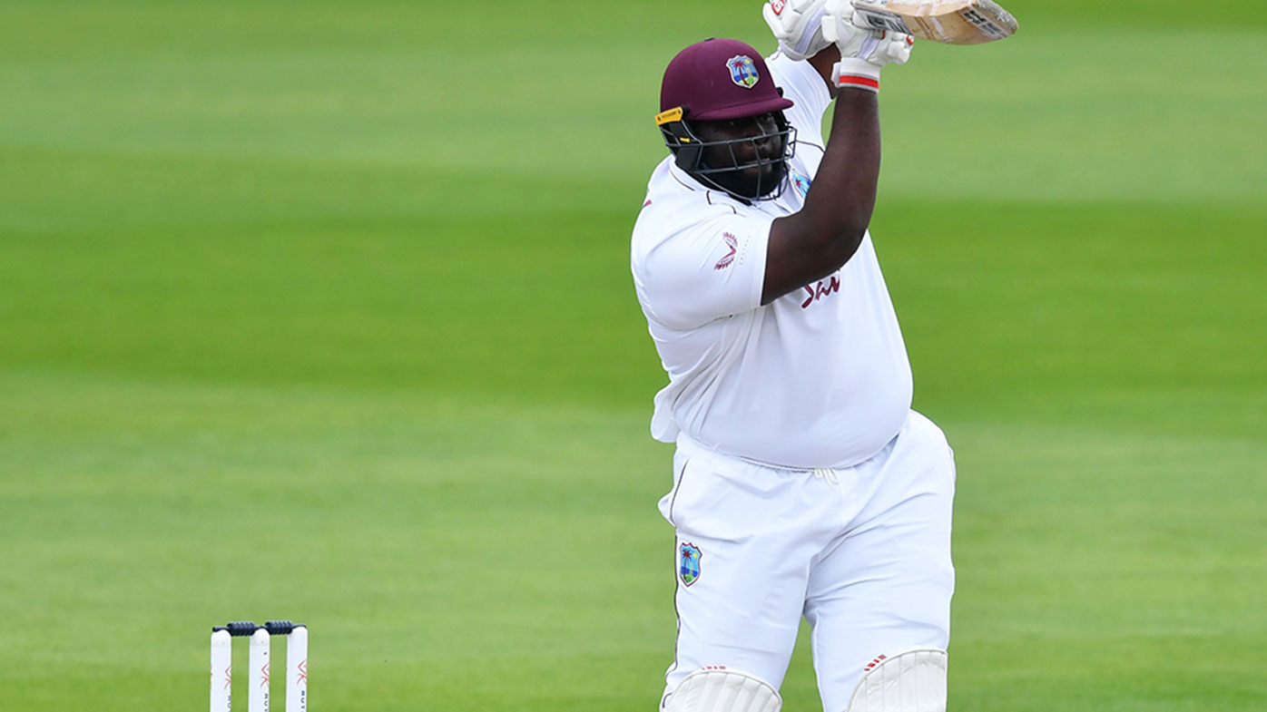 Rahkeem Cornwall of West Indies batting against England at Old Trafford in 2020.