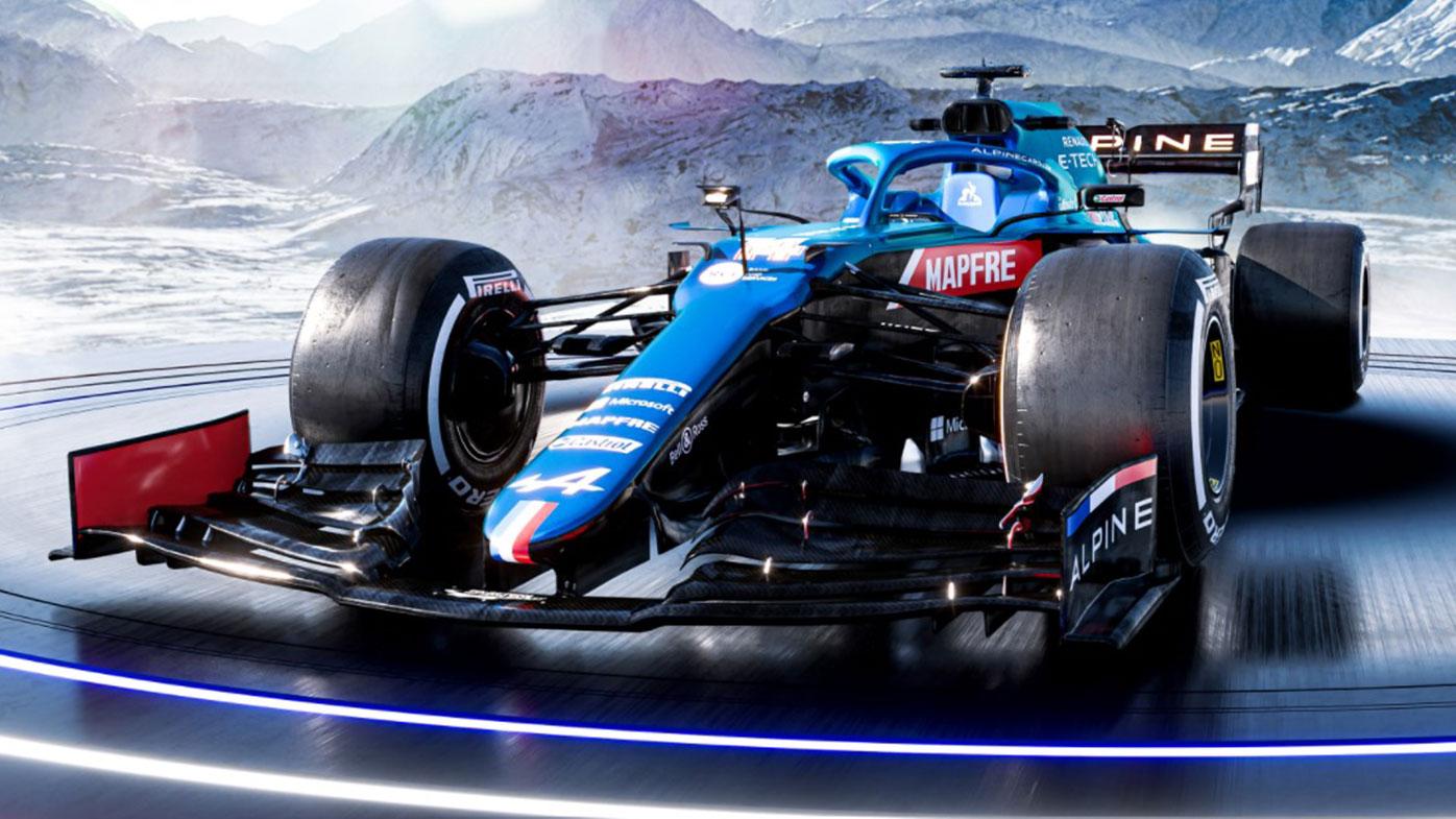 Alpine's 2021 Formula One car, to be driven by Fernando Alonso and Esteban Ocon.