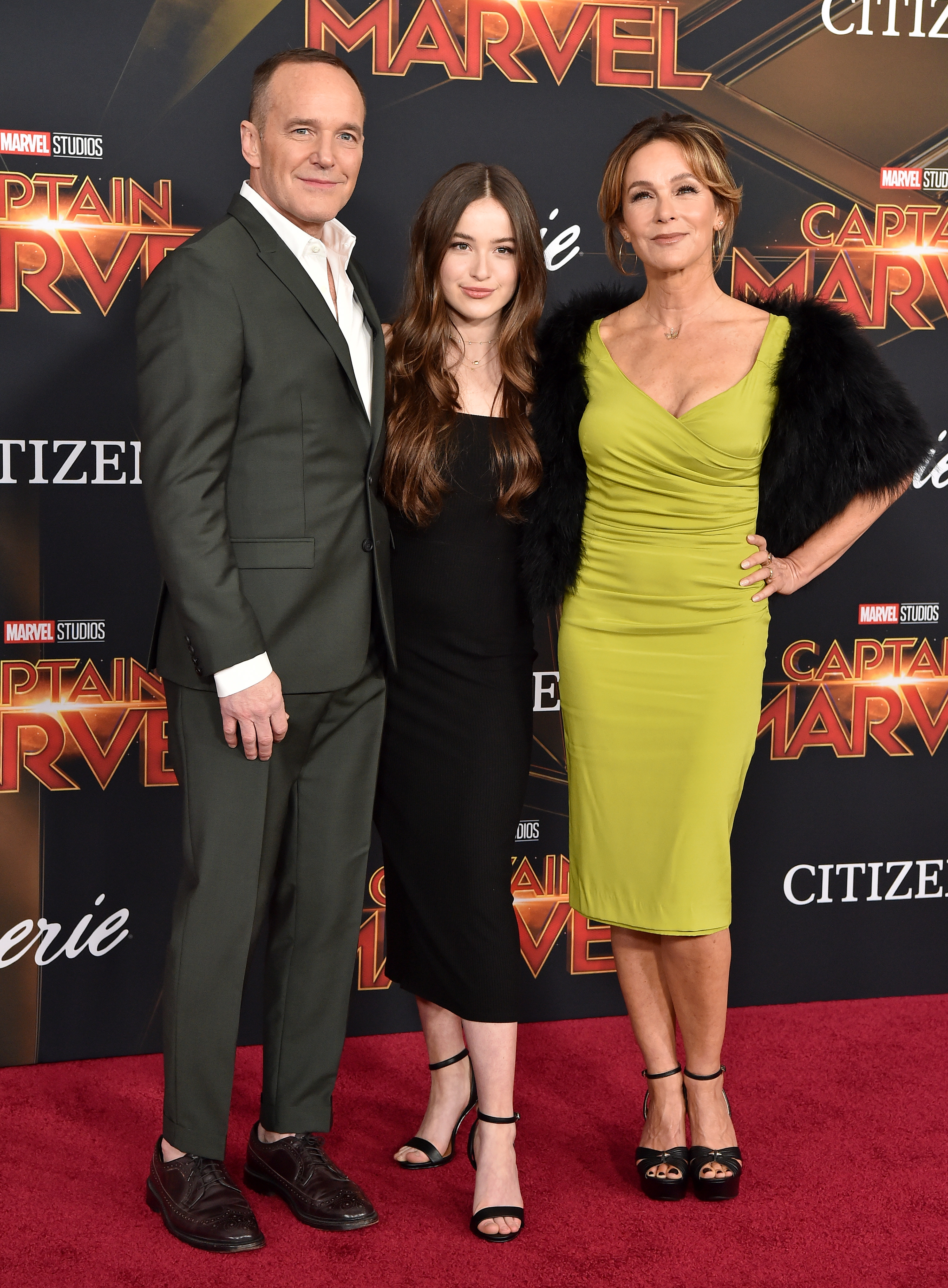 Clark Gregg, Jennifer Grey and daughter Stella attend Captain Marvel premiere in 2019 in Hollywood, California.