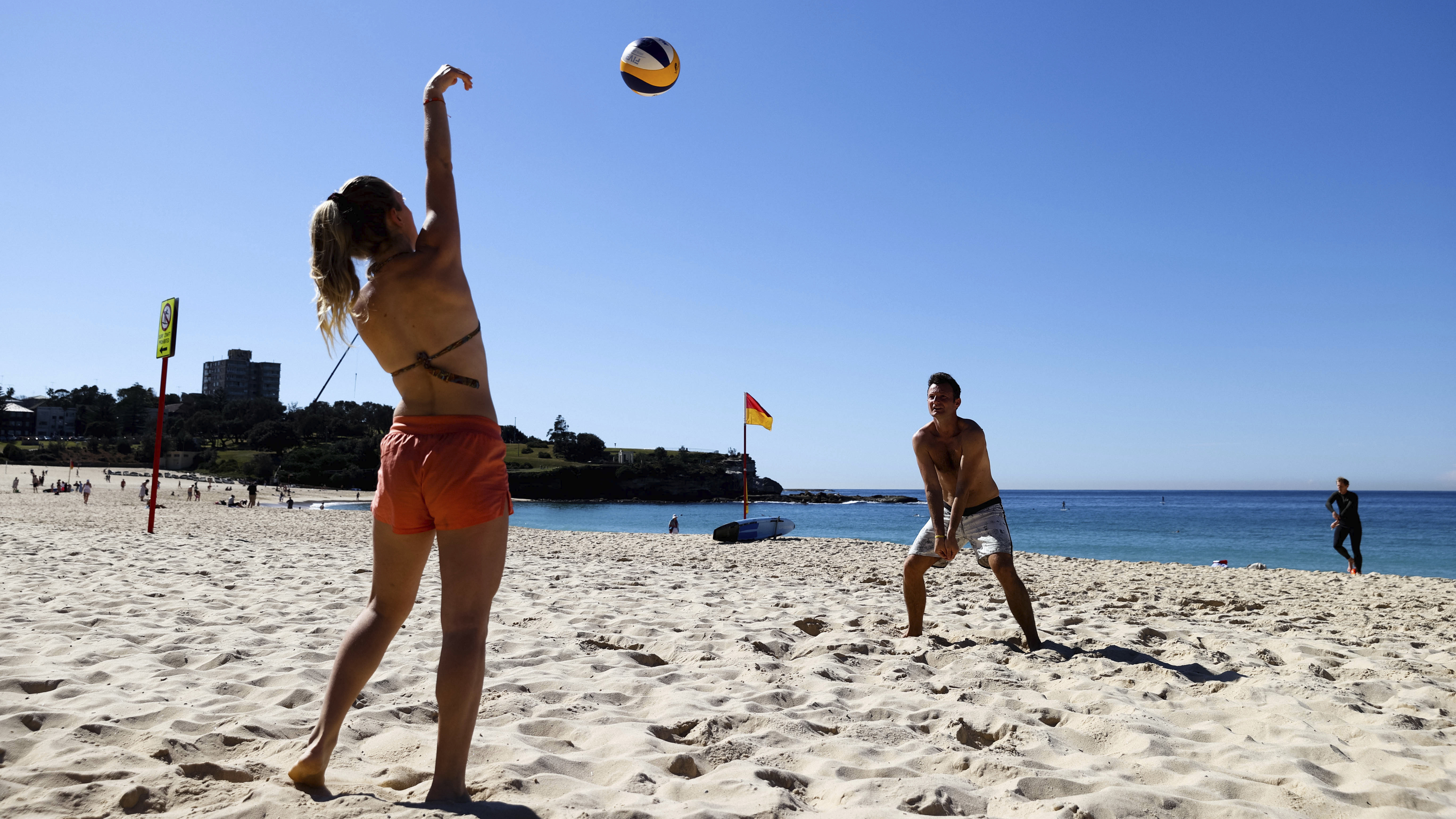 People exercise at Coogee Beach in Sydney.