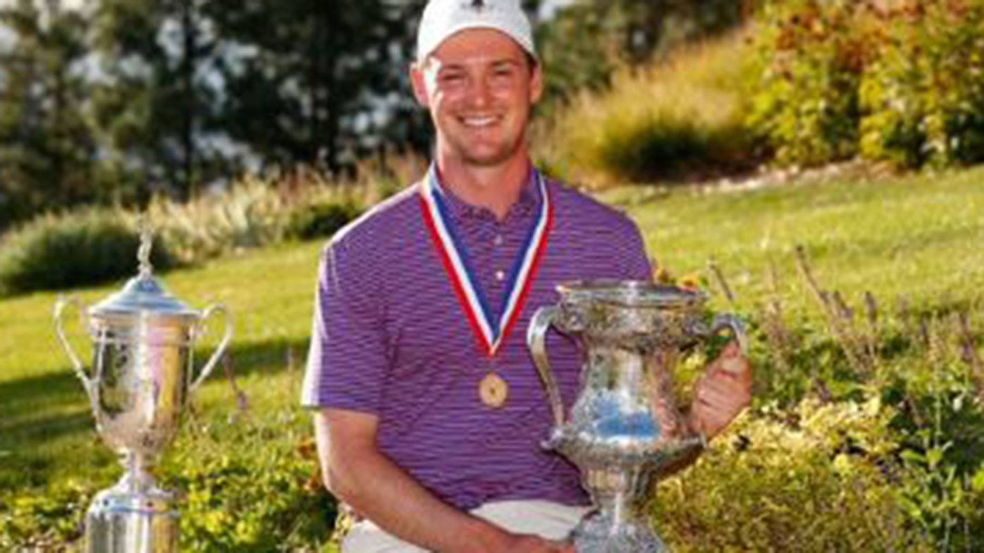 Australian Lukas Michel has made history by winning the US Mid-Amateur title.
