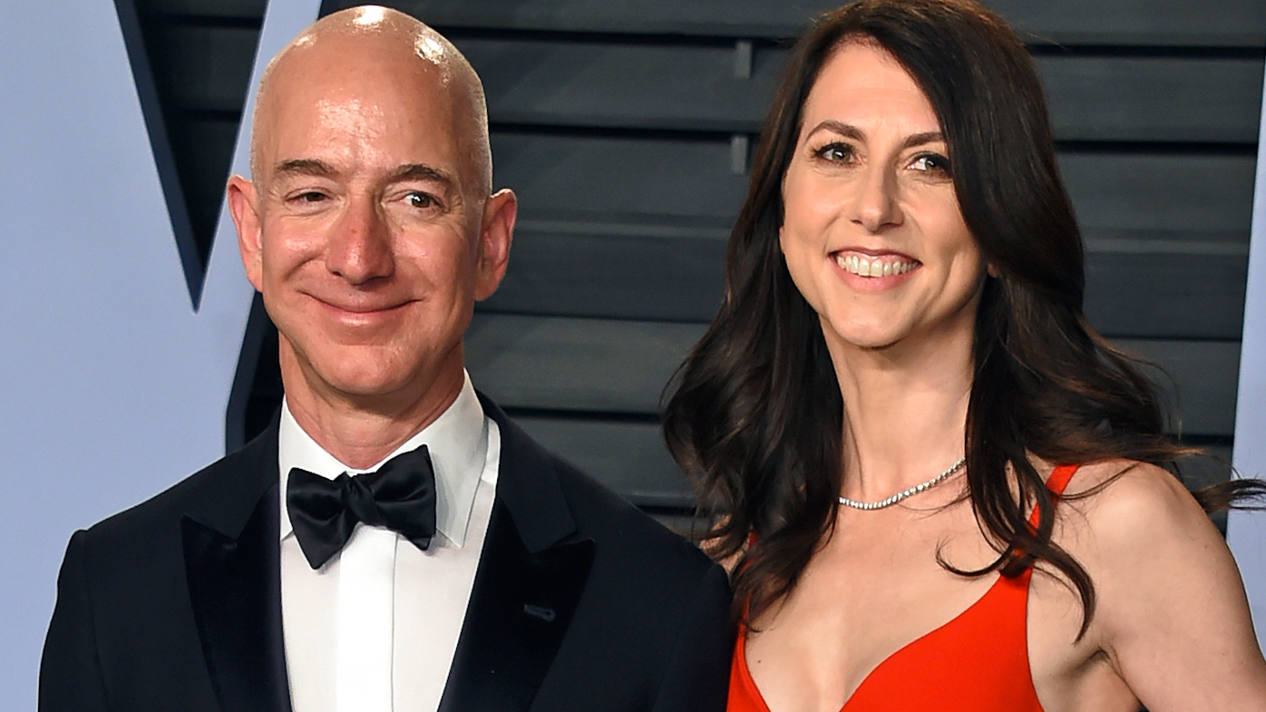 Jeff Bezos and wife MacKenzie Bezos arrive at the Vanity Fair Oscar Party in Beverly Hills.