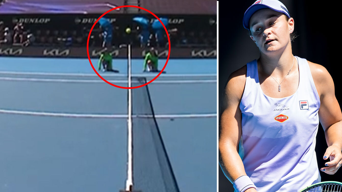 Ash Barty has a look of resignation on her face in her Australian Open quarter-final as this moment killed her hopes.