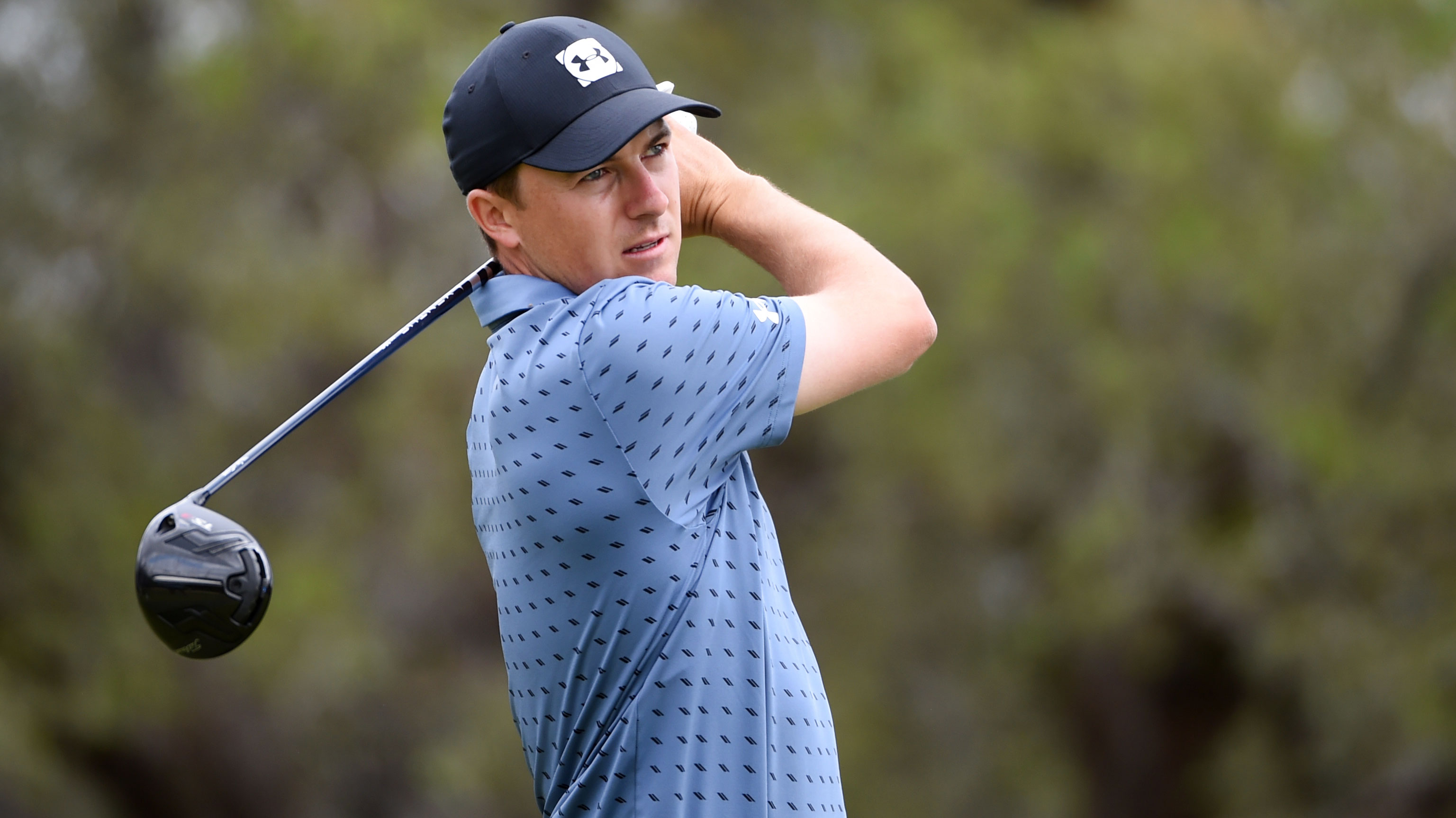 Jordan Spieth hits a drive in the final round of his Texas Open win.