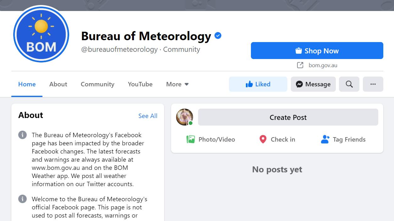 BOM Facebook page down