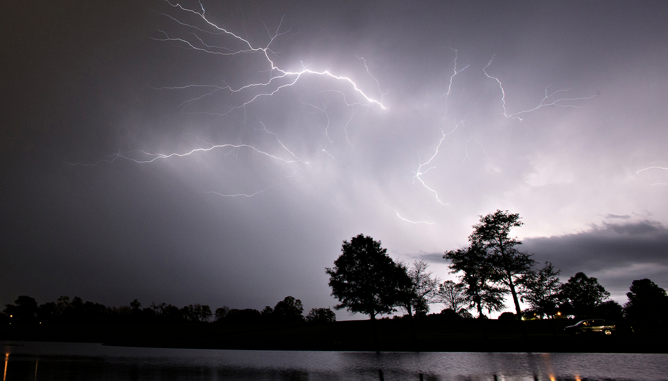 FILE PHOT0. Lightning strikes visible in Blount Cultural Park in Montgomery, Ala., as a thunderstorm moves through Southern Montgomery County, Ala., on Wednesday, April 5, 2017. (AP Photo/Montgomery Advertiser/Albert Cesare)
