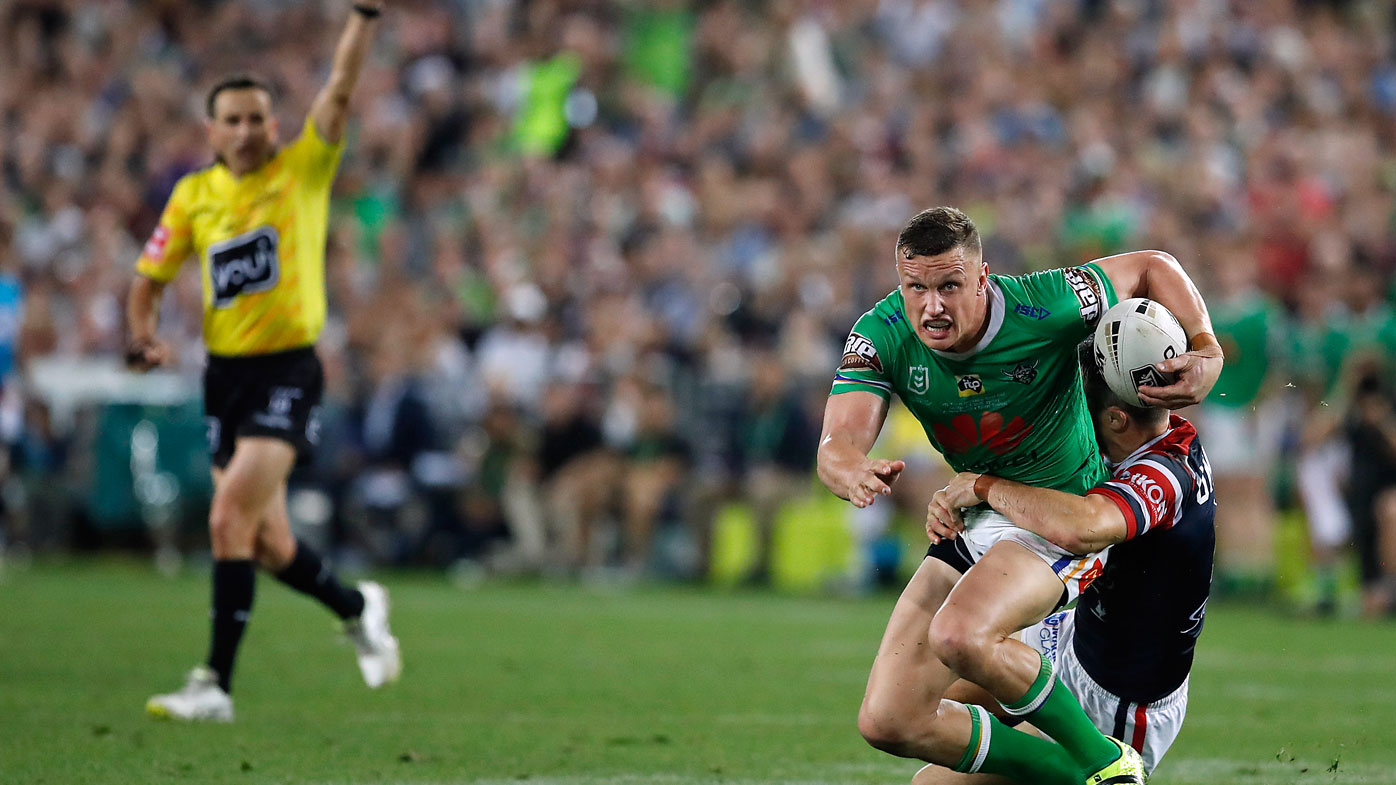 Jack Wighton takes a tackle late in the NRL grand final