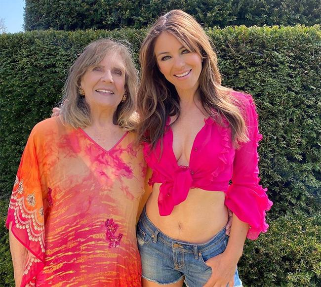 Elizabeth Hurley, mother Angela Hurley.