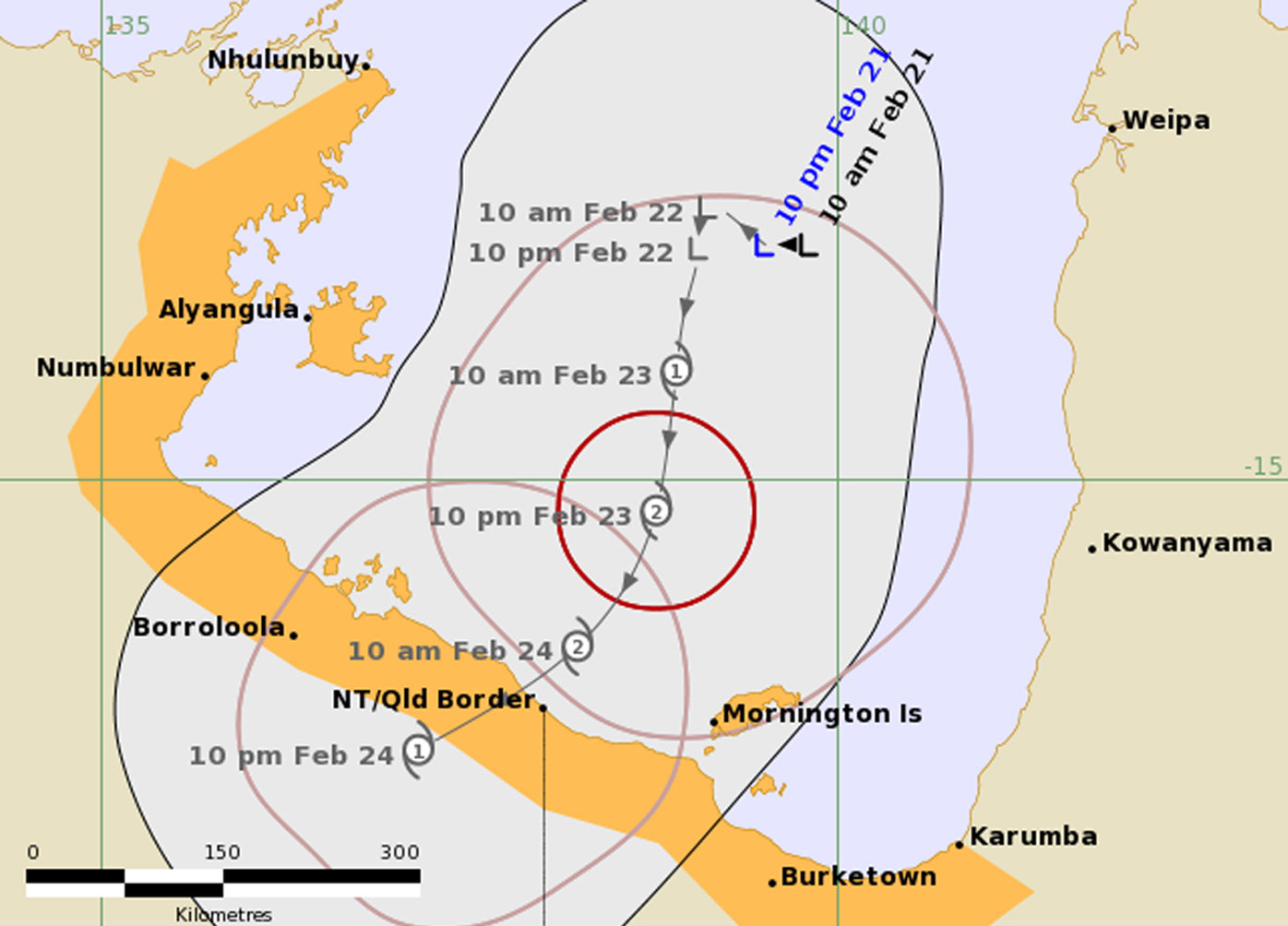 Cyclone Watch forecast map 22/2 at 2am