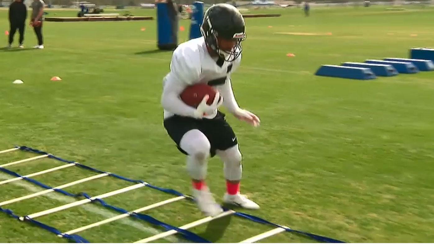 Valentine Holmes doing NFL training drills