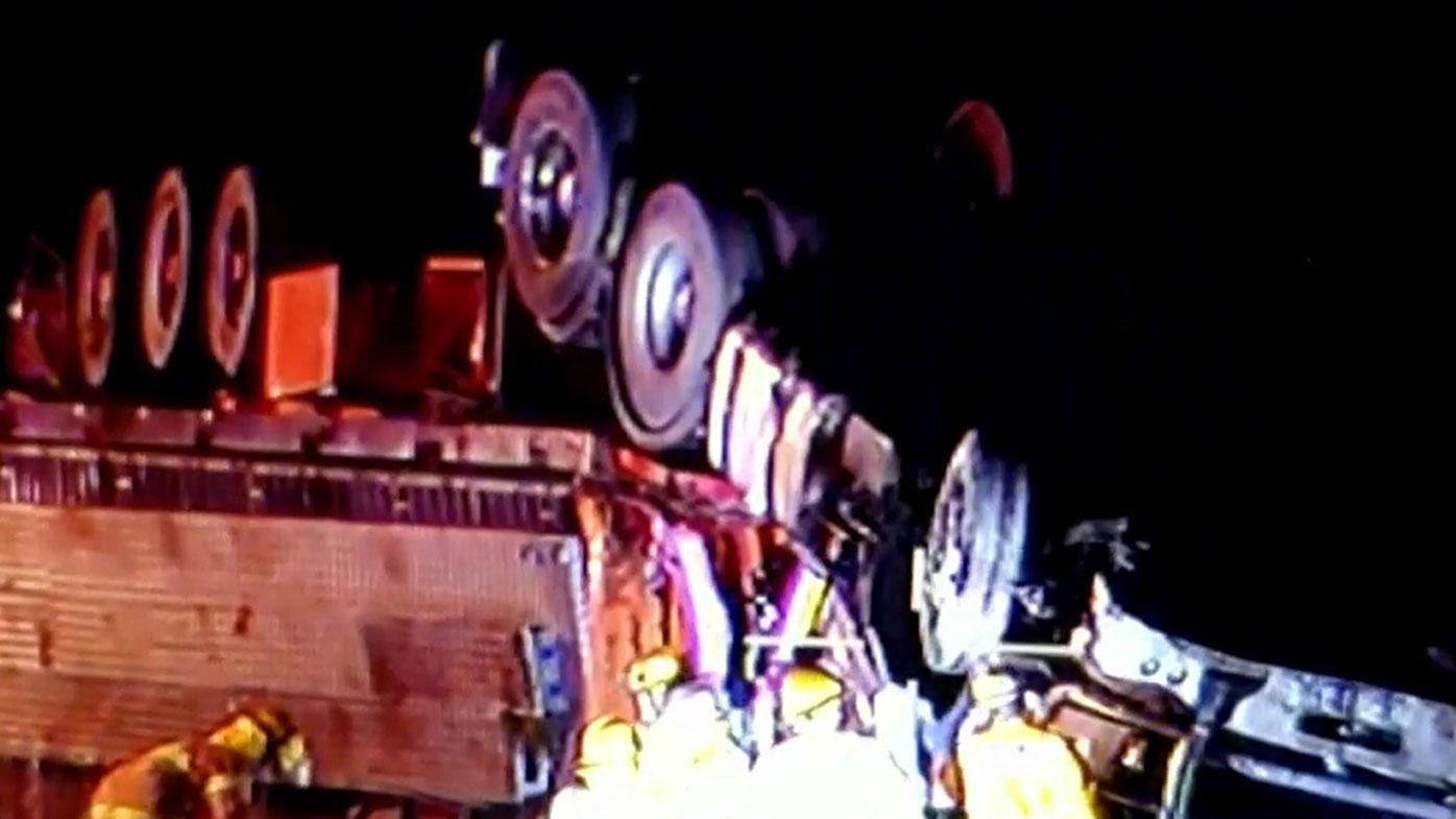 Truck driver dead after freeway crash