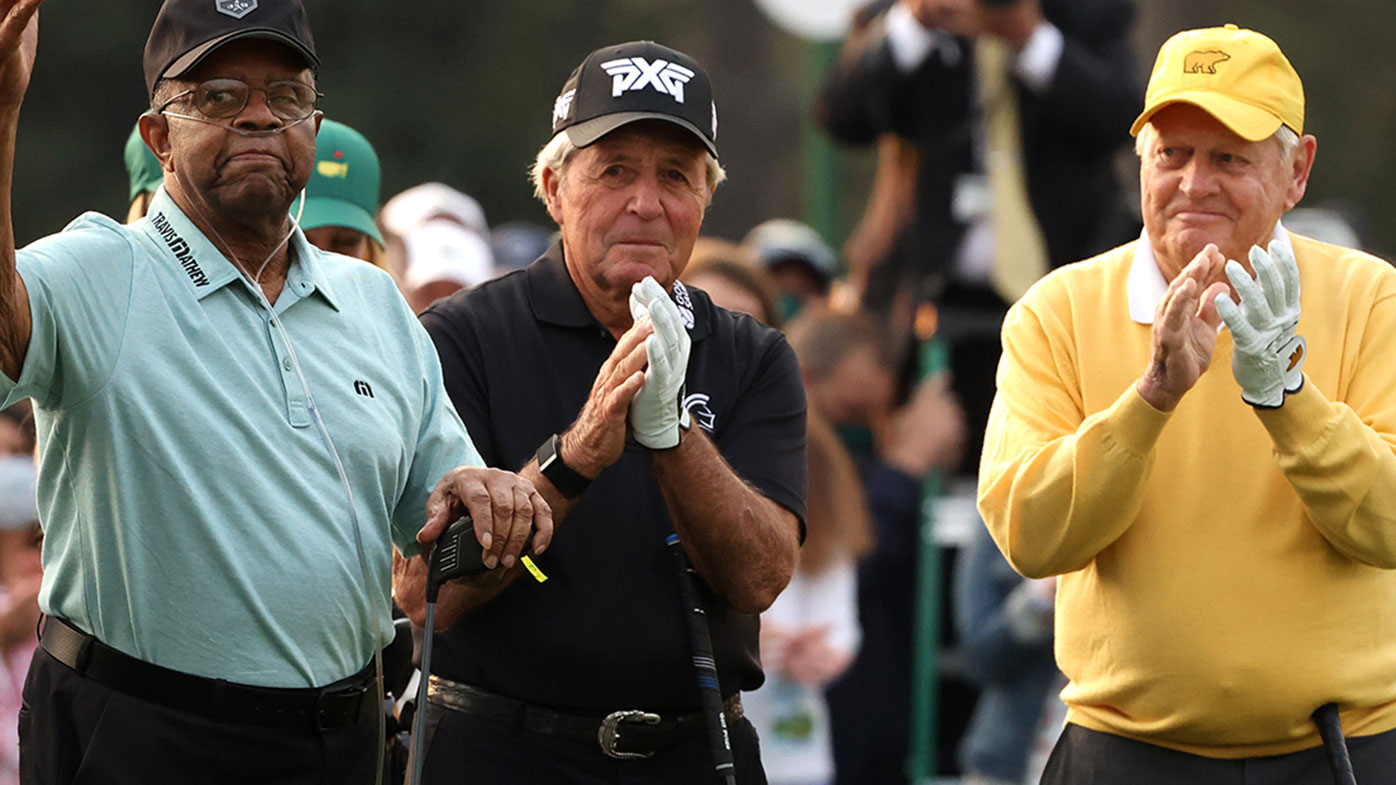 Lee Elder with Gary Player and Jack Nicklaus at the opening ceremony for the Masters Tournament.