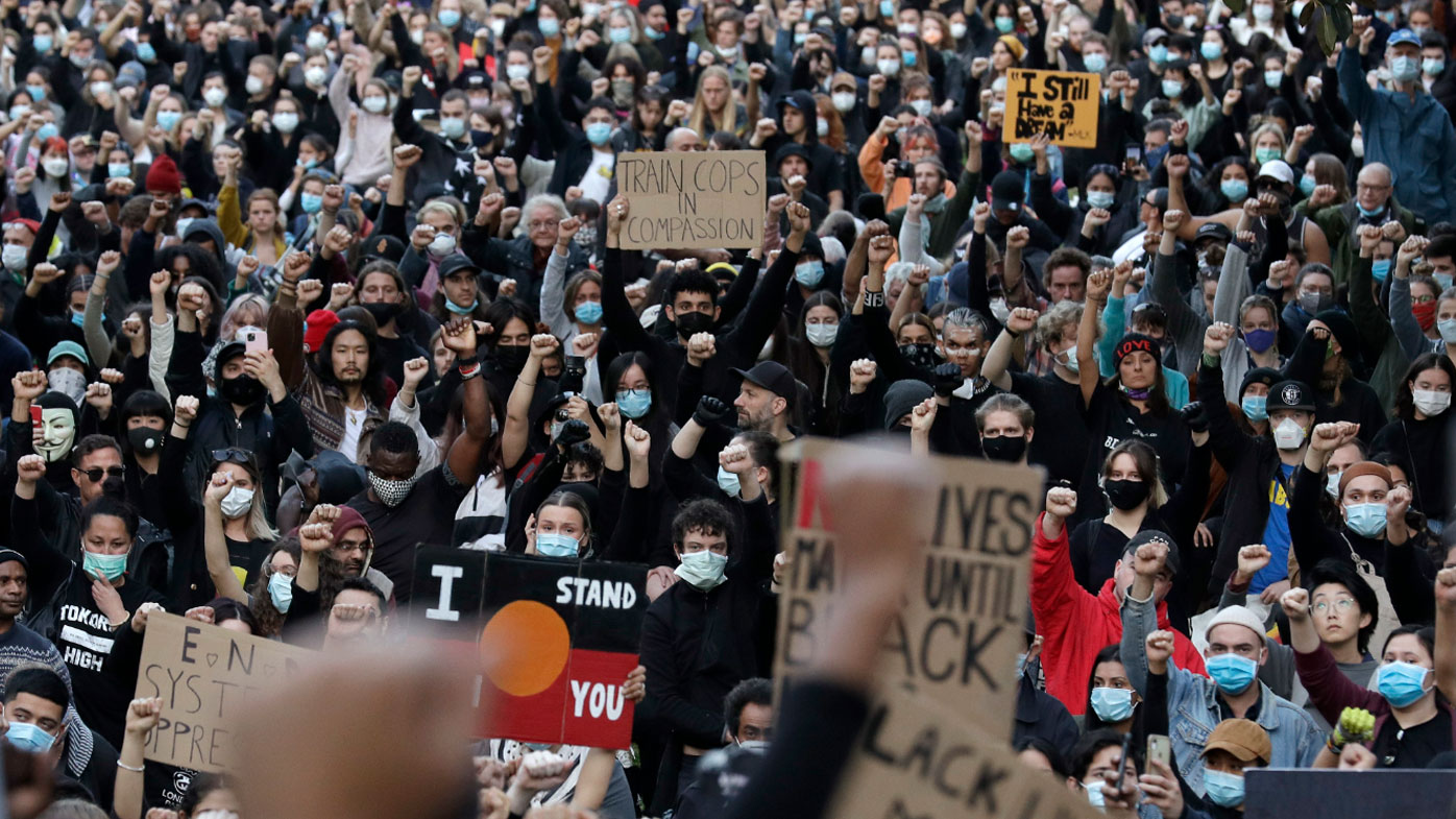 Thousands rallied in Sydney in support of the Black Lives Matter movement. (Rick Rycroft)