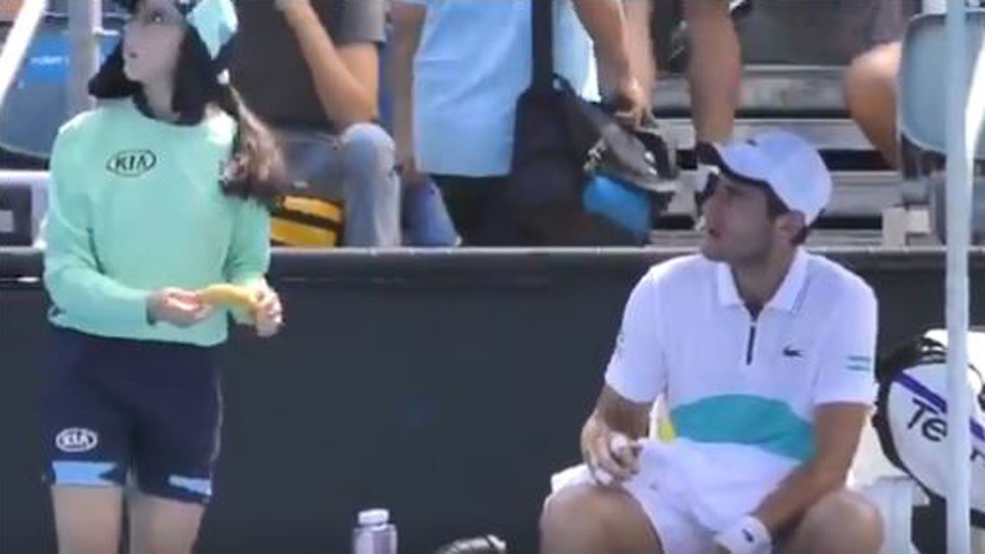 French Tennis Player Elliot Benchetrit Scolded For Ball-Girl Banana Request