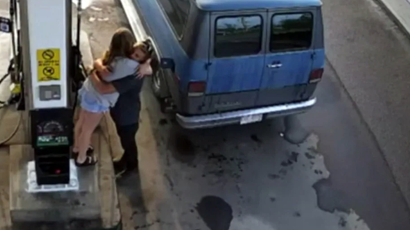 Australian tourist Lucas Fowler and his US girlfriend Chynna Deese, pictured here refuelling their van, were killed by Kam McLeod, 18, and Bryer Schmegelsky, 19.