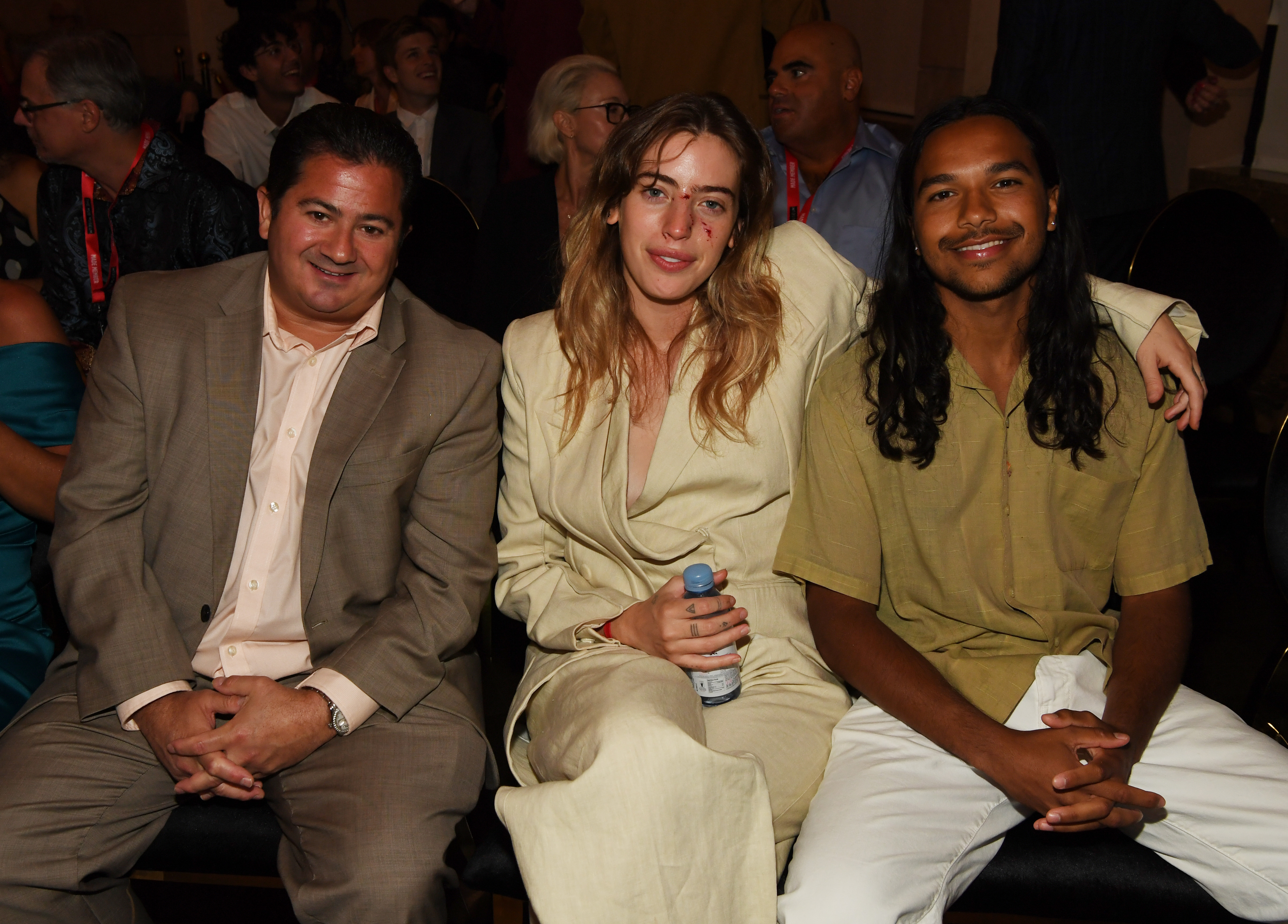 Joe D'Onofrio, Clara McGregor and Tyler Dean Flores attend the world premiere of feature film The Birthday Cake at The Mob Museum on June 11, 2021 in Las Vegas, Nevada.