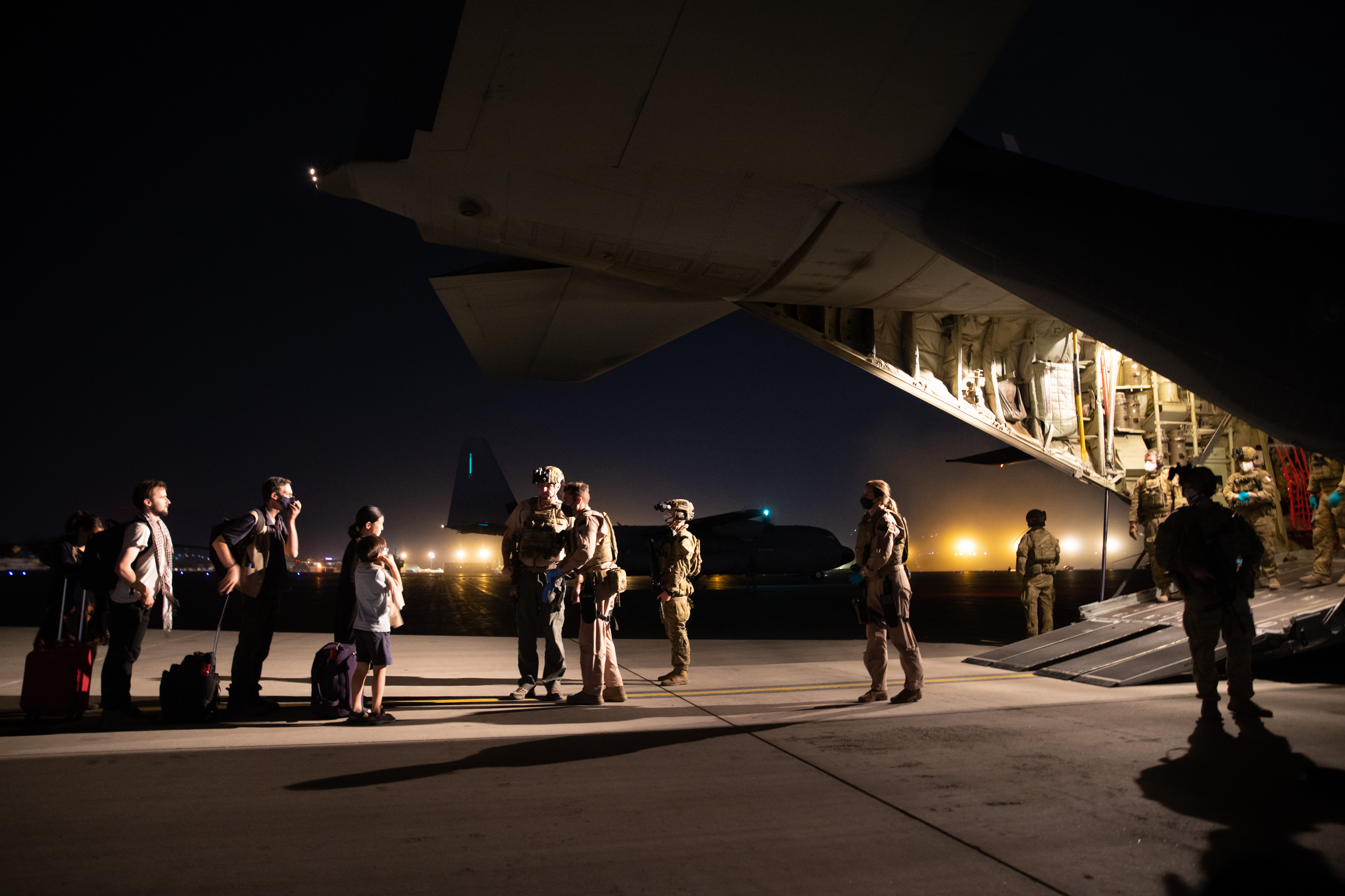 The RAAF C-130J Hercules aircraft landed at Hamid Karzai International Airport in Kabul overnight and departed safely at around 1am local time, 18 August 2021.
