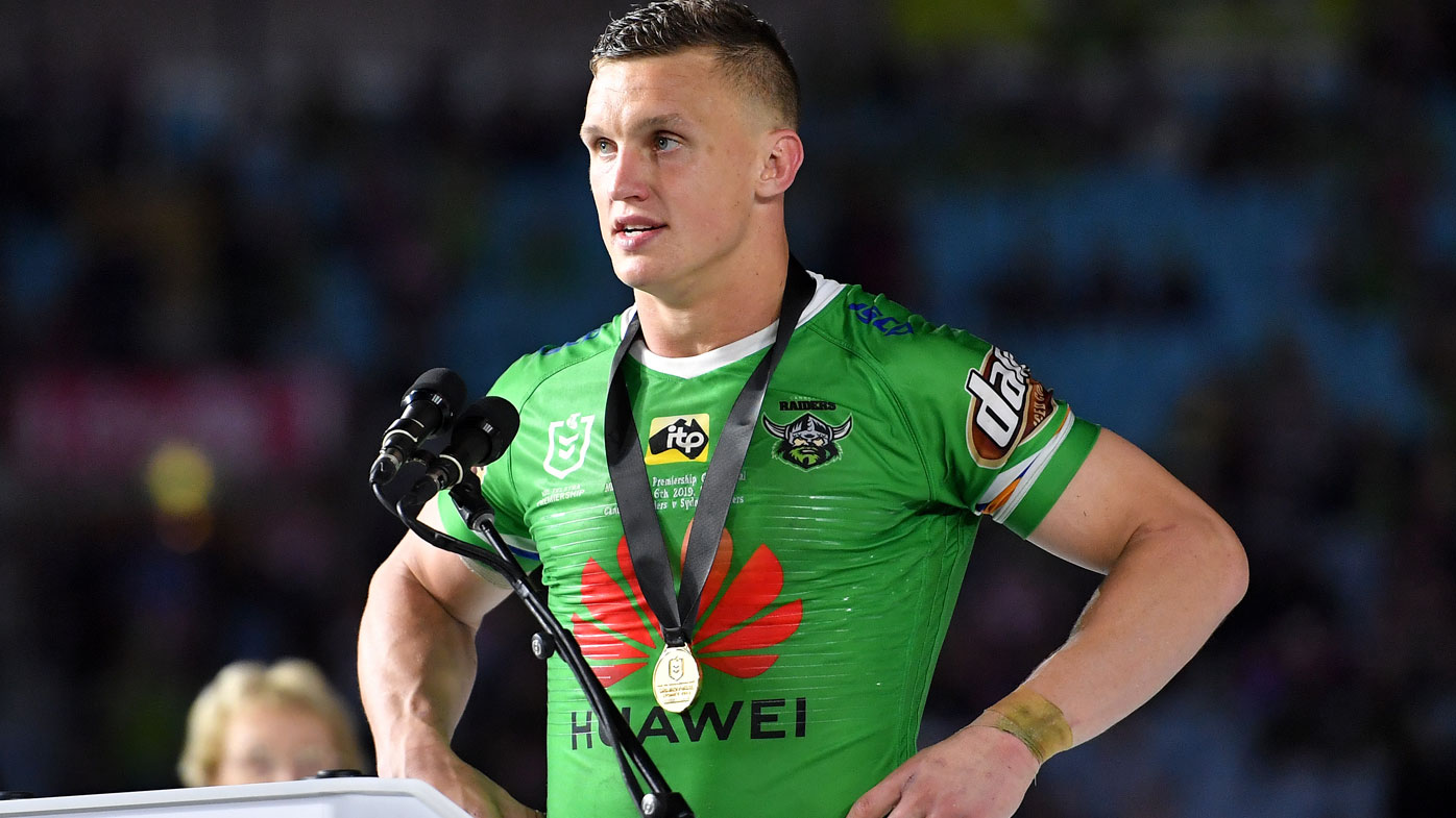 Jack Wighton of the Raiders speaks after being presented the Clive Churchill medal during the 2019 NRL Grand Final between the Canberra Raiders and the Sydney Roosters