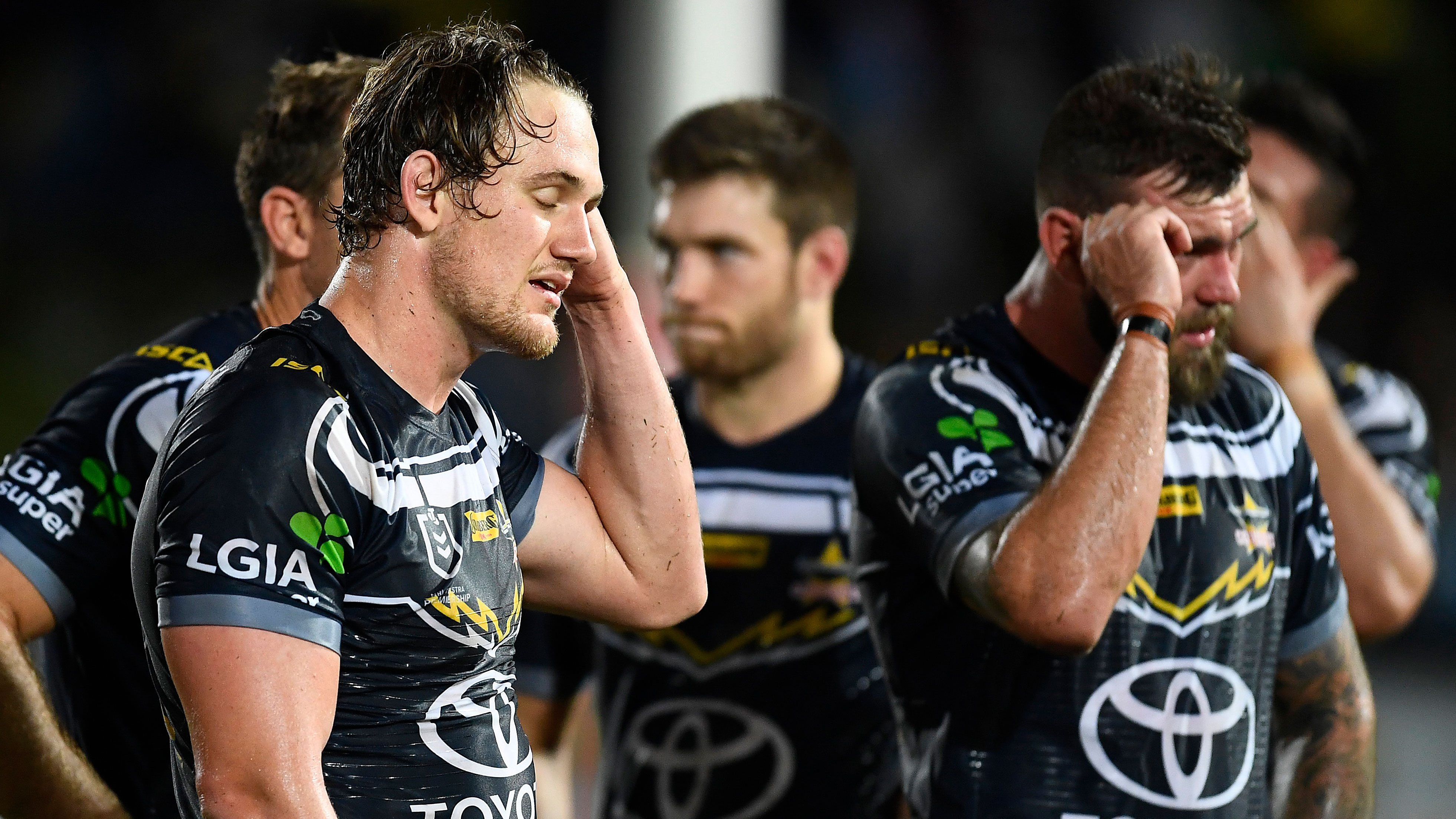 North Queensland Cowboys players react to another loss.