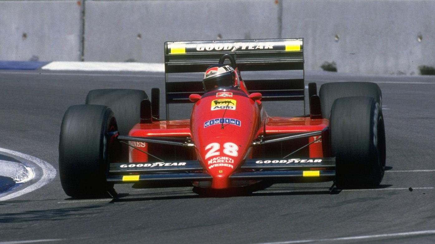 Gerhard Berger on the way to winning the 1987 Australian Grand Prix for Ferrari.