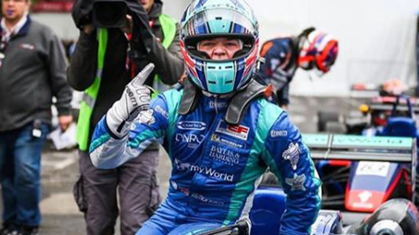 Billy Monger celebrates his win in Pau.
