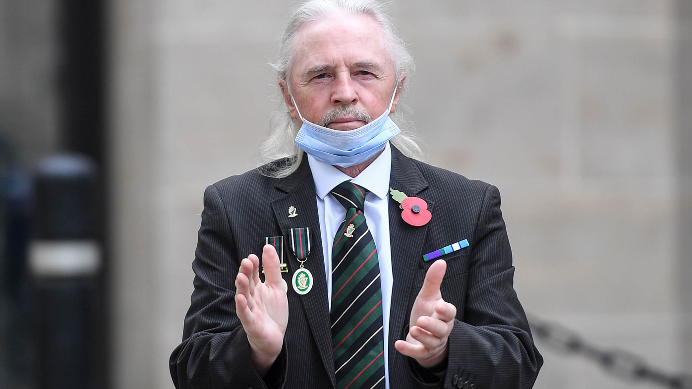A veteran wearing a mask is seen attending VE Day commemorations at the Cenotaph on May 8, 2020 in London, United Kingdom