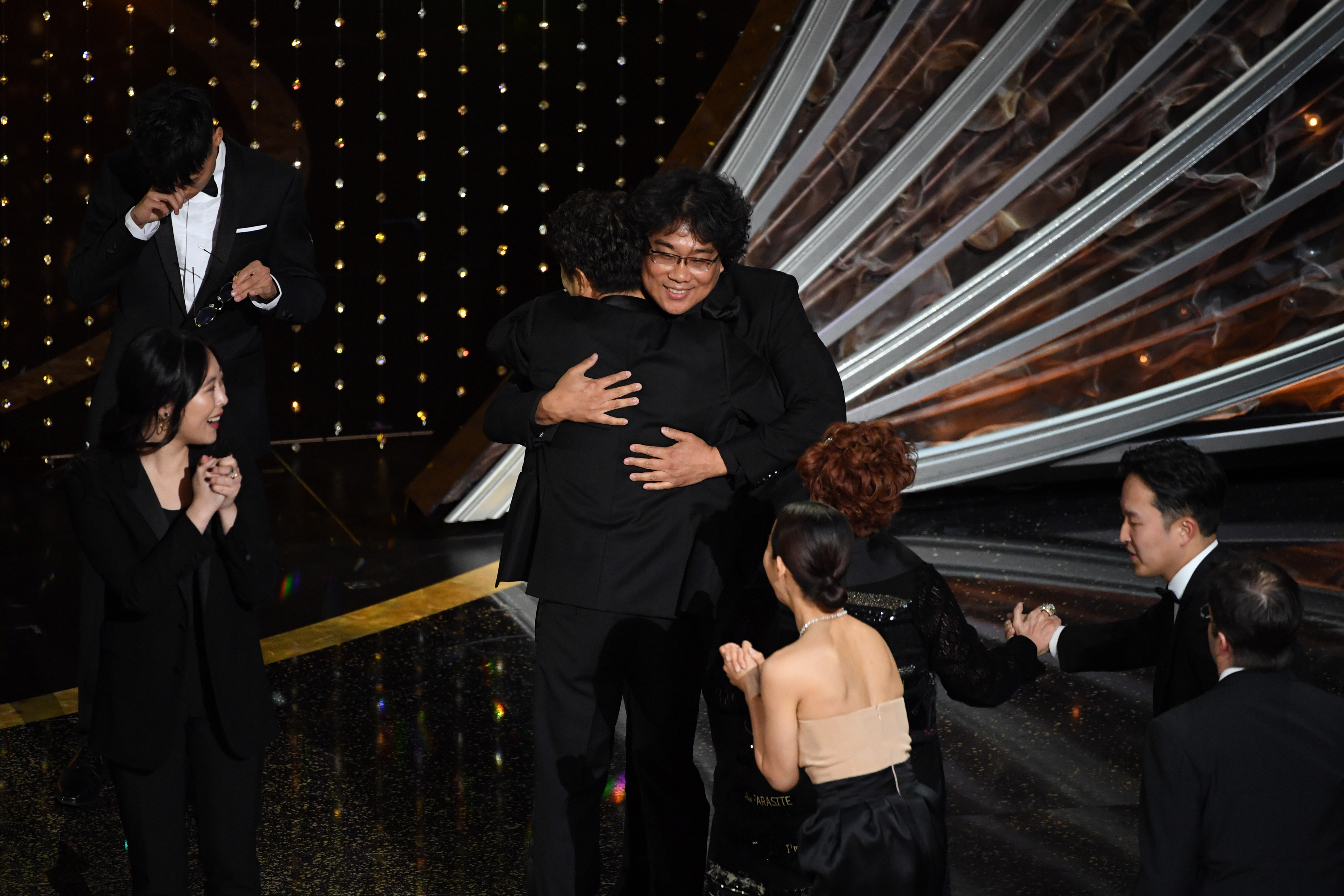 Bong Joon-ho accepts the Best Picture award for Parasite onstage during the 92nd Annual Academy Awards at Dolby Theatre on February 09, 2020 in Hollywood, California