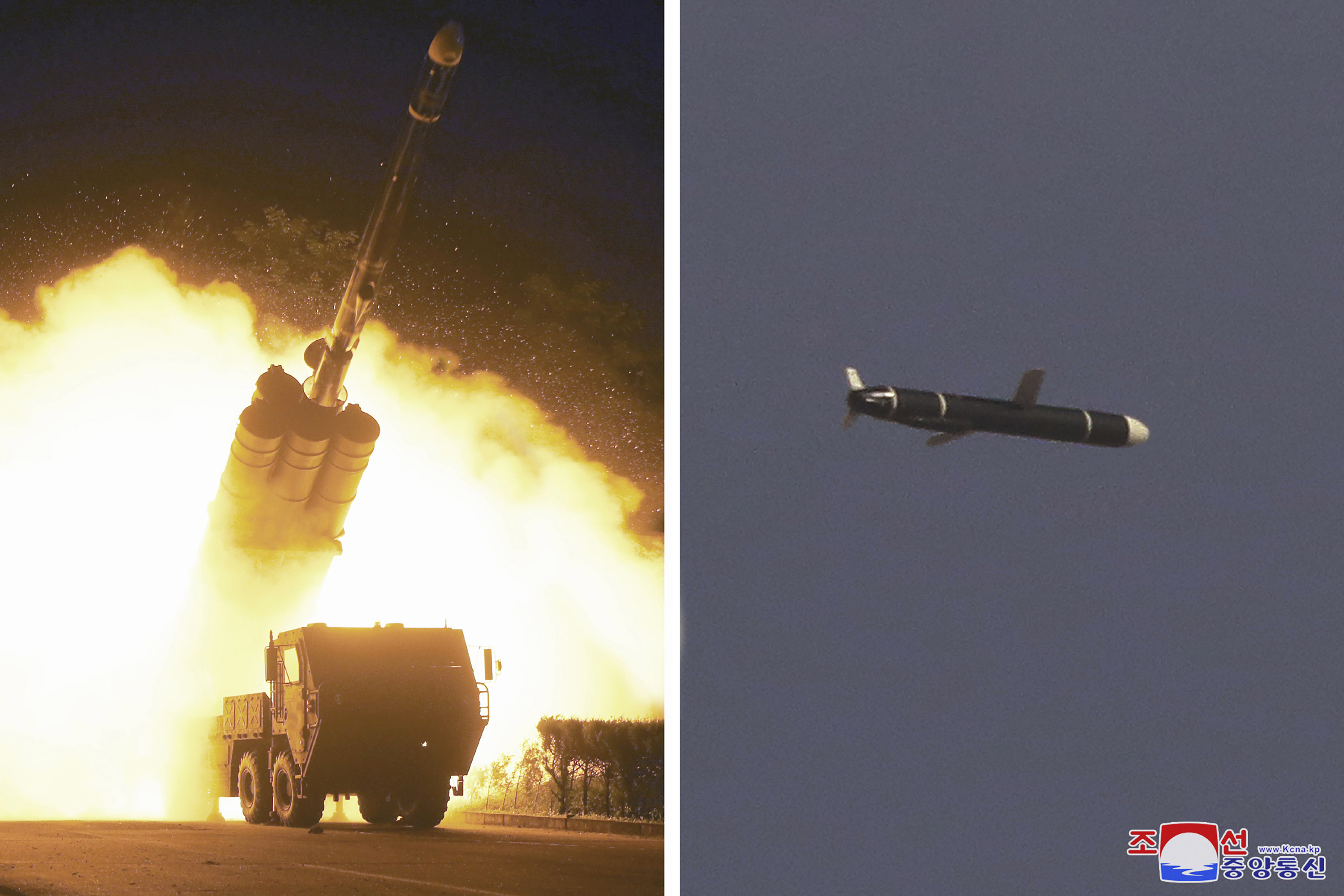 Long-range cruise missiles reportedly tested at an undisclosed location in North Korea.
